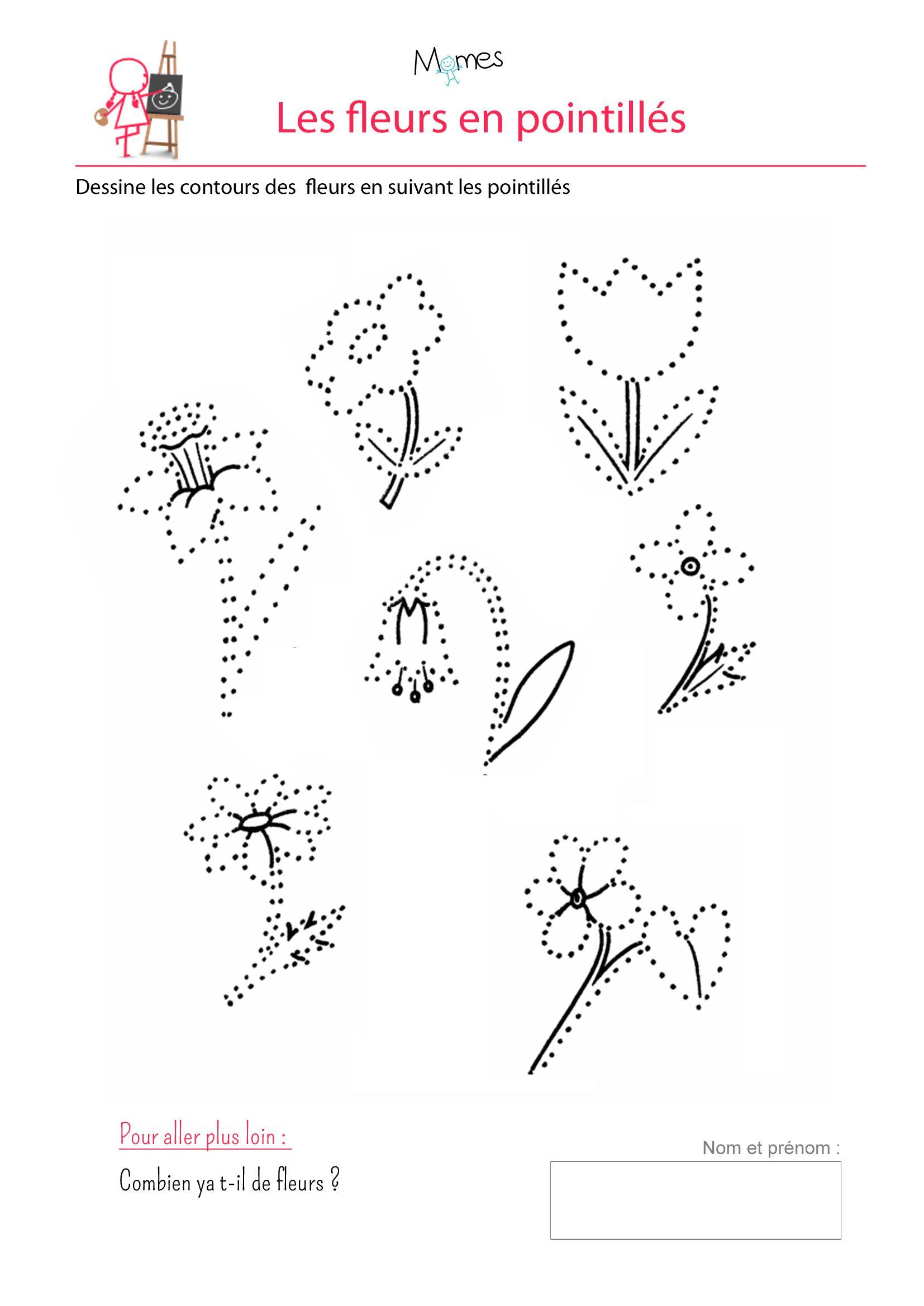 Bouquet De Pointillés | Maternelle, Idées Logo Et Activite avec Dessin En Pointillé