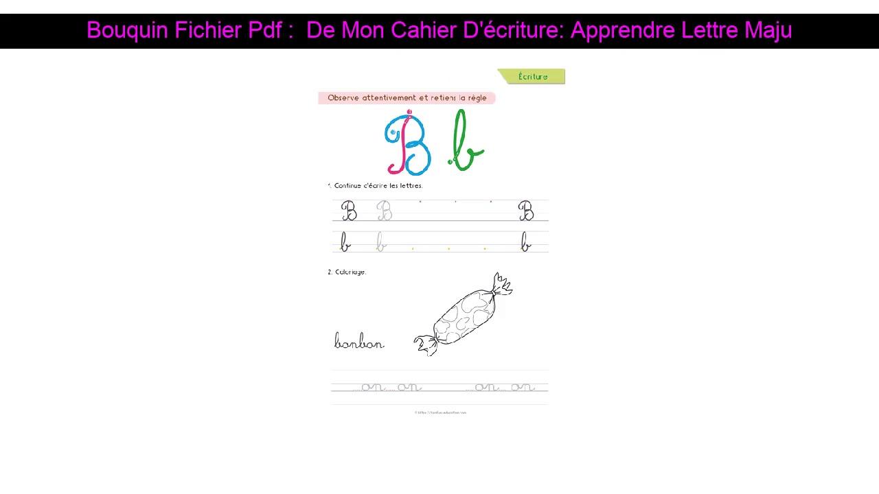 Bouquin Fichier Pdf : De Mon Cahier D'écriture: Apprendre Lettre Majuscule  - Pour Apprendre A Ecri pour Apprendre A Ecrire Les Lettres