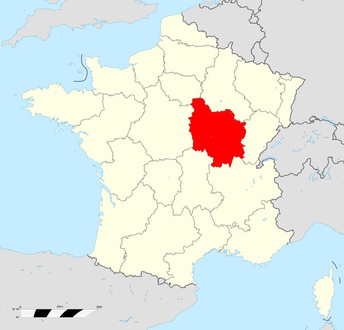 Bourgogne (Ancienne Région Administrative) — Wikipédia destiné Carte De France Et Ses Régions