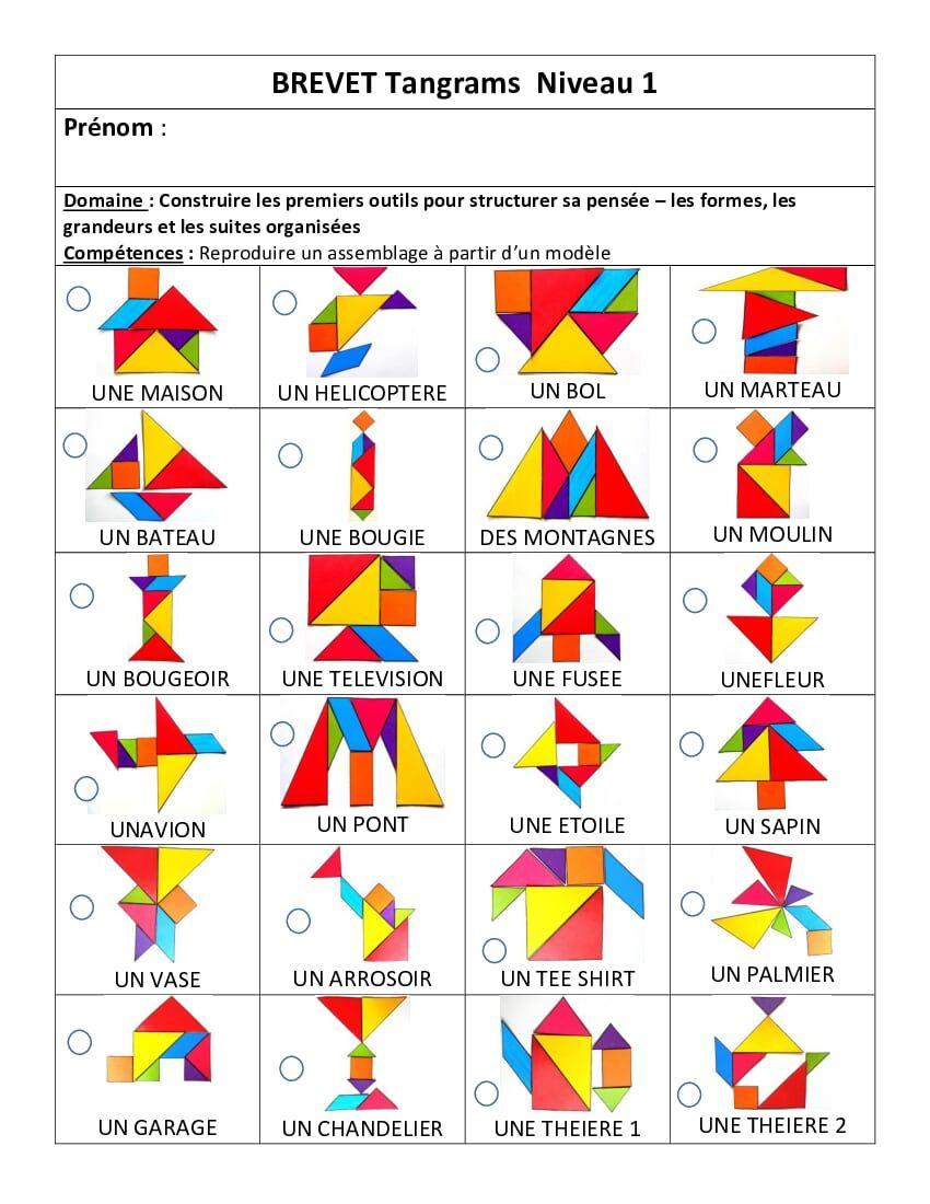 Brevet Tangram Niveau3.pdf - Onedrive | Tangram Maternelle serapportantà Tangram À Imprimer Pdf