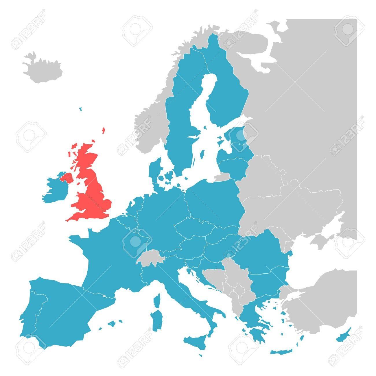Brexit Thème Carte - Carte De L'europe Avec Soulignées Etats Membres De  L'ue Et Royaume-Uni Dans Une Couleur Différente. Vector Illustration. Carte tout Carte Vierge De L Union Européenne