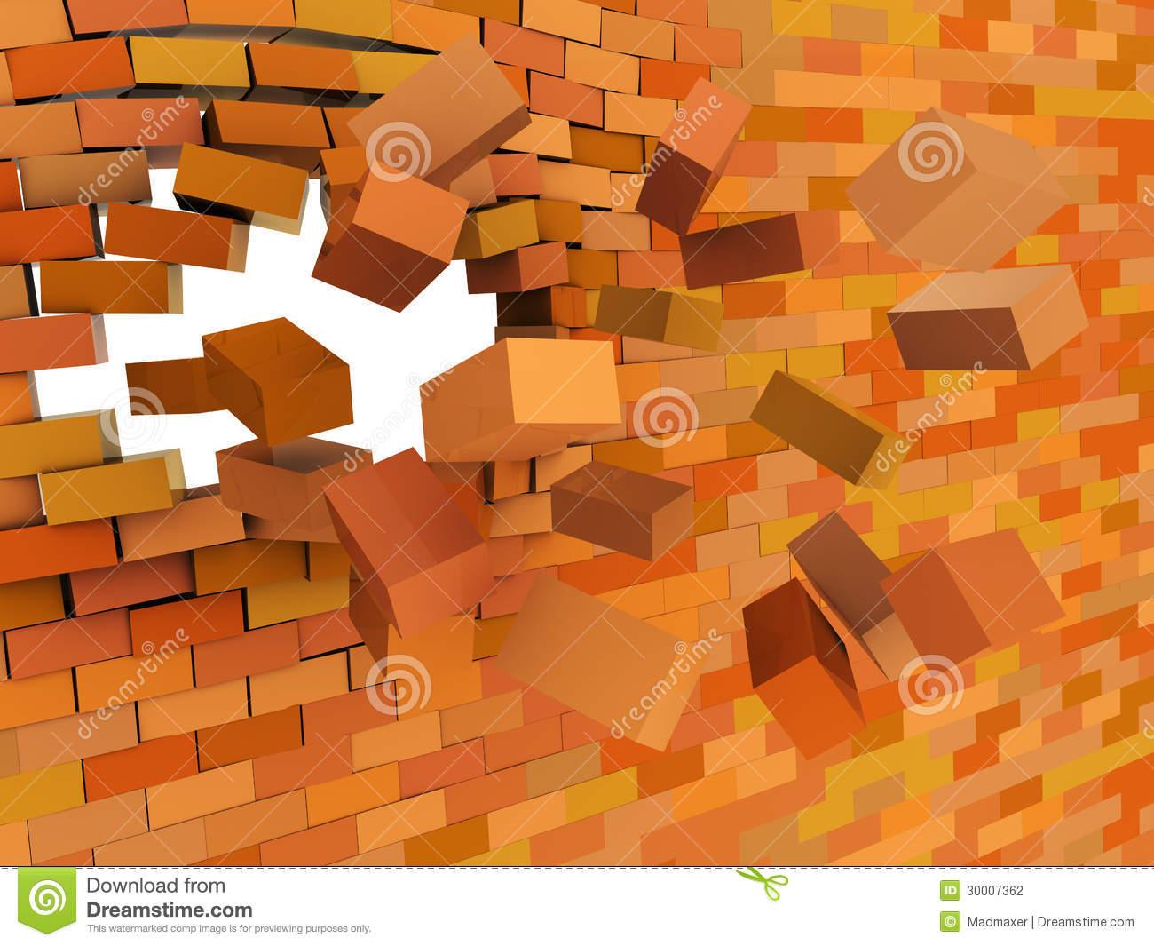 Brick Wall Crashing Stock Illustration. Illustration Of pour Casse Brick