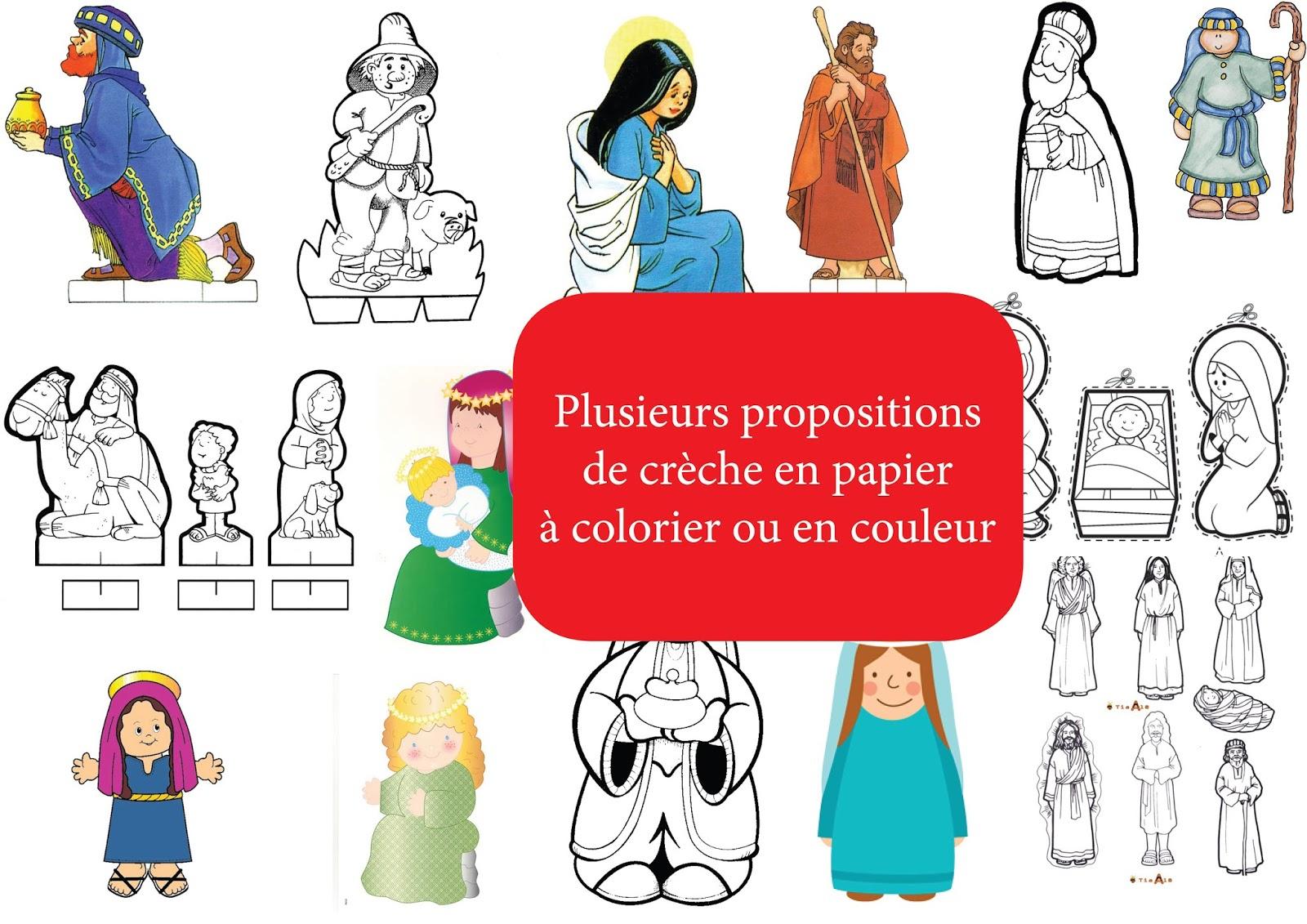 Bricolage De Noël : Crèches En Papier À Colorier Ou Découper dedans Creche A Imprimer