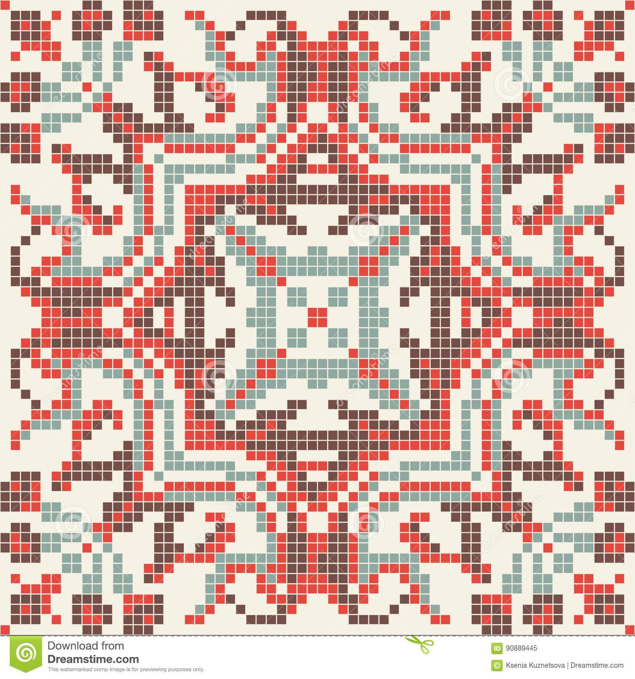 Broderie Sans Couture De Modèle De Pixel Ethnique, Dessin avec Modele Dessin Pixel