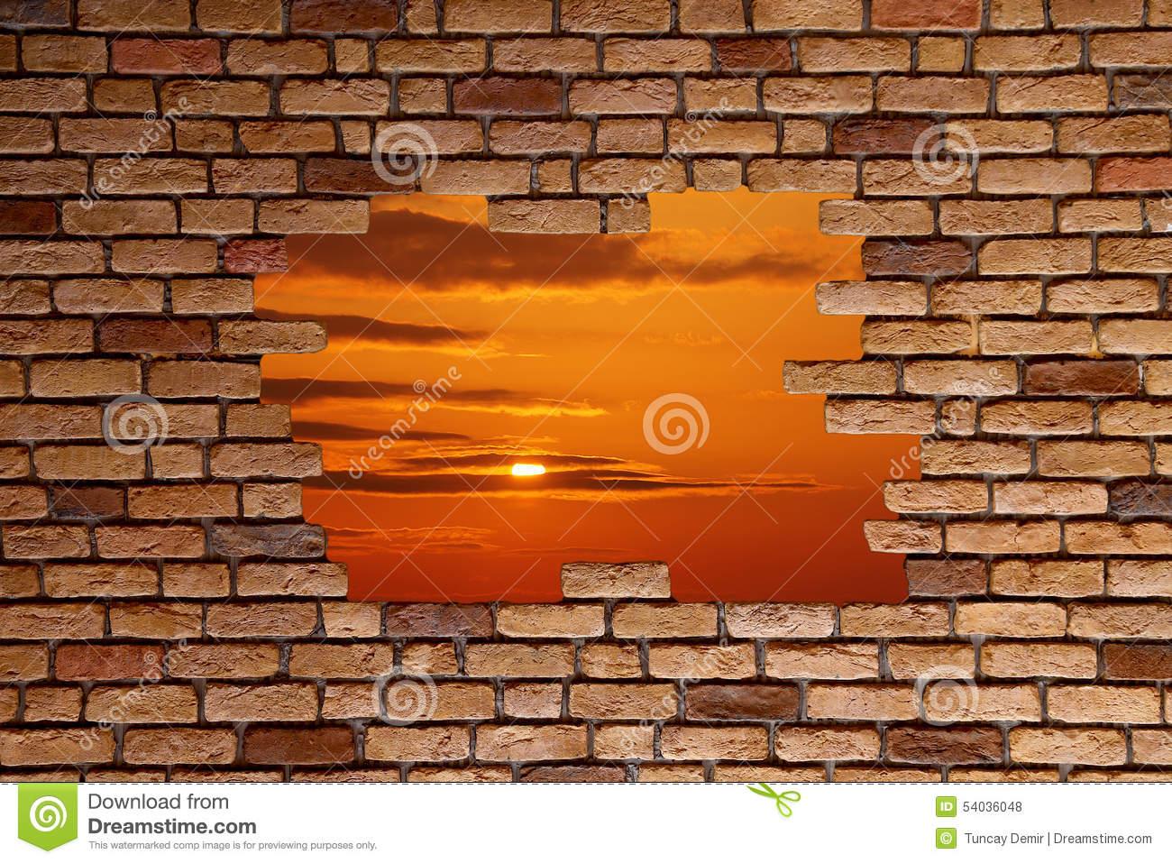 Broken Brick Wall Stock Photo. Image Of Landscape dedans Casse Brick