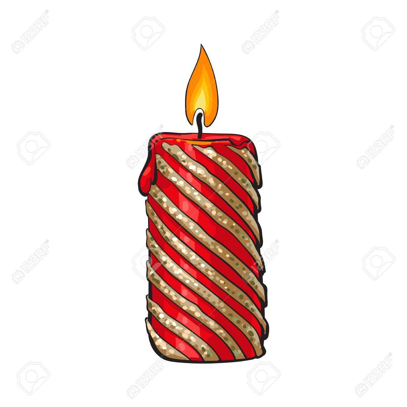 Brûler Noël Bougie, Dessin Animé Illustration Isolé Sur Fond Blanc. Noël,  Rouge Et Or Avènement Bougie De Couleur Avec Une Flamme, Élément De tout Dessin Sur Bougie