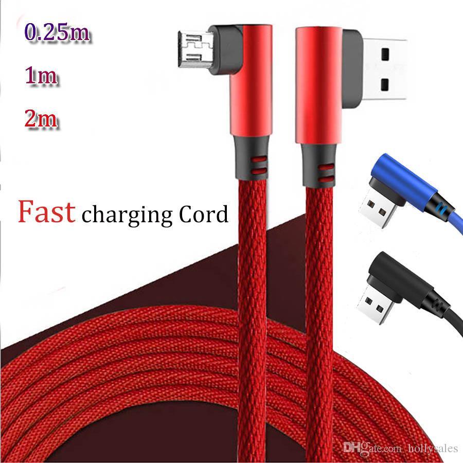 Cable Usb Jack 3.5 Vitesse De Charge Rapide De Haute Qualité Hybride À 90  Degrés À Double Coude Micro Usb V8 Câble Type C Jeu Câbles De tout 90 Degrés Jeux