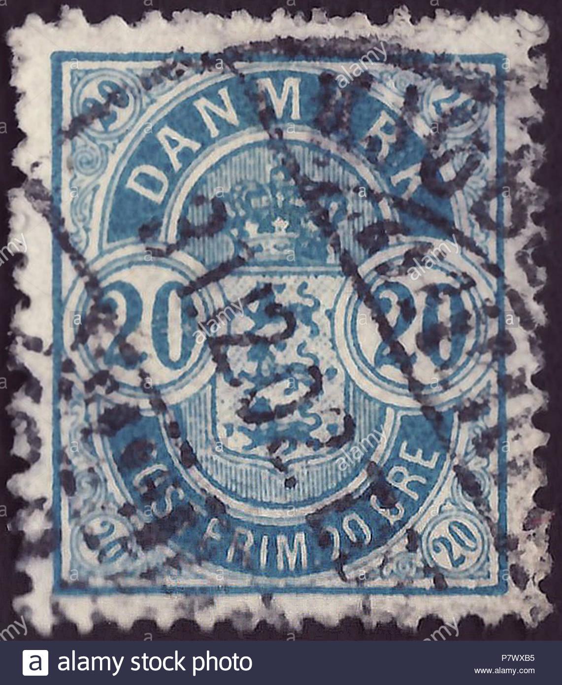Cachet Du Royaume De Danemark ; 1895 ; Timbre De L'émission tout Dessin Chiffre Romain