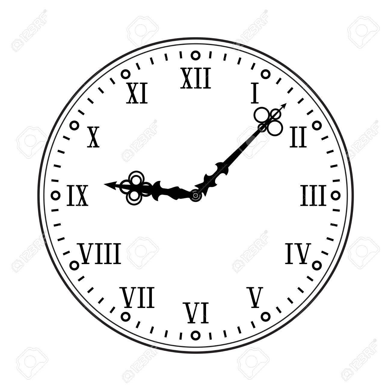 Cadran D'horloge Avec Chiffres Romains. Dessin À Plat Noir Sur Fond Blanc avec Dessin Chiffre Romain