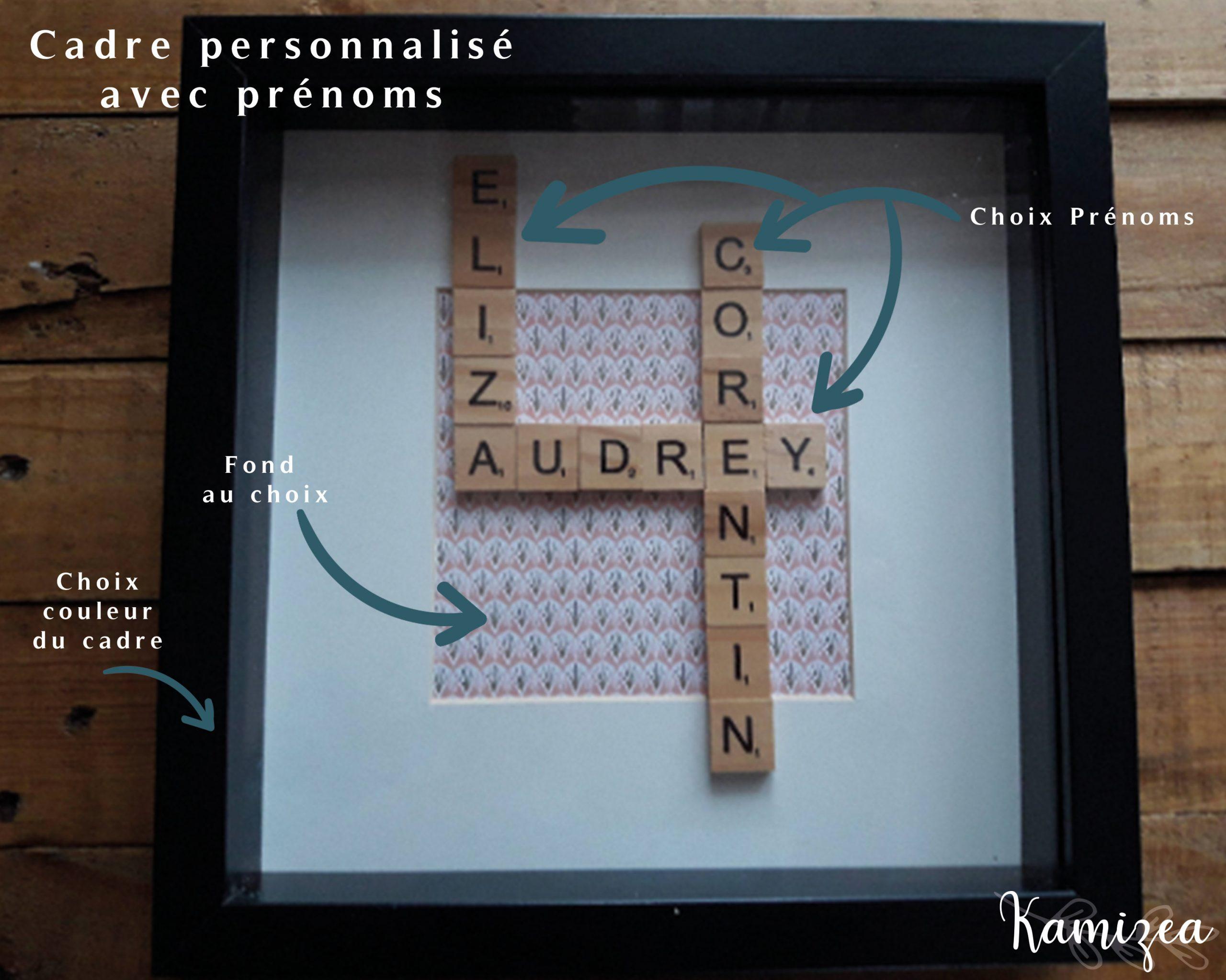 Cadre Prénoms Avec Lettres Scrabble En Bois Façon Mots Croisés  Personnalisable (Taille, Couleur, Motif) avec Mots Croisés Personnalisés