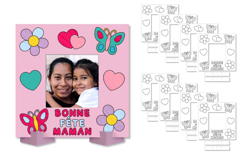 """Cadres Photo À Colorier """"bonne Fête Maman"""" - Lot De 8 encequiconcerne Carte Bonne Fete Maman Imprimer"""