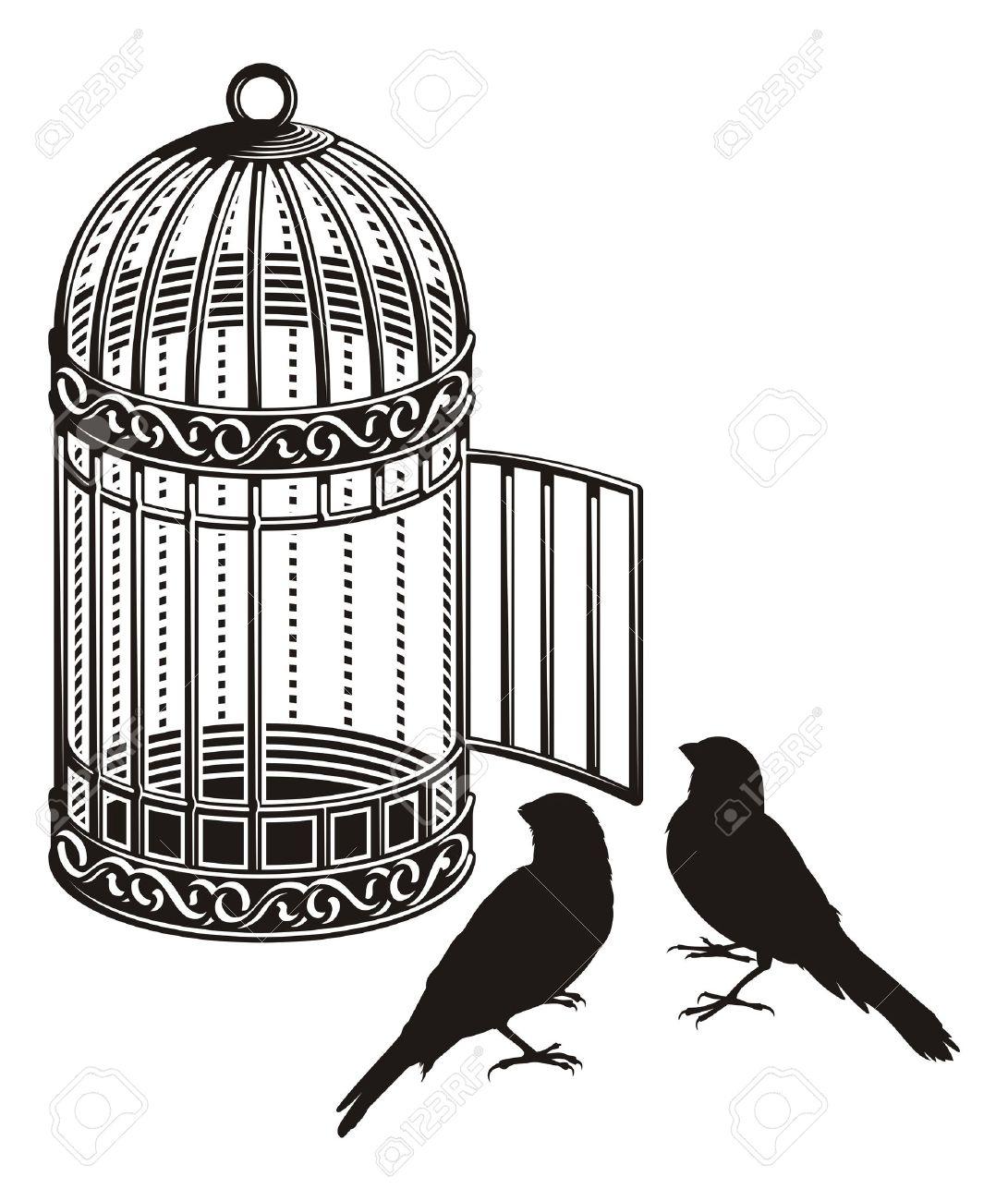 Cage À Oiseaux Métallique Avec Porte Ouverte Et Les Deux Silhouettes  D'oiseaux. dedans Dessin De Cage D Oiseau