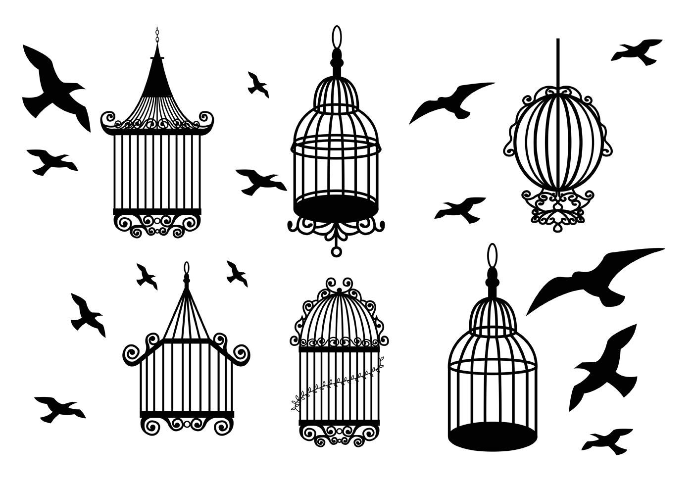 Cage D'oiseaux Vintage - Telecharger Vectoriel Gratuit intérieur Dessin De Cage D Oiseau