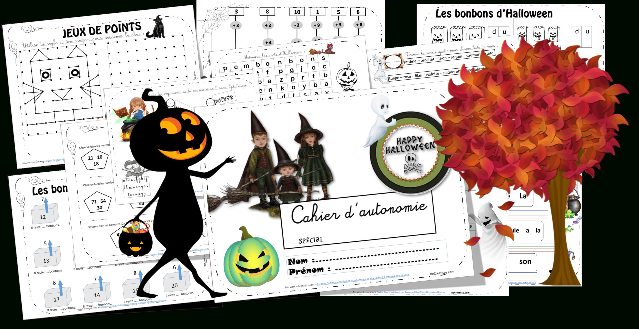 Cahier D'autonomie Halloween • Recreatisse concernant Cahier De Vacances Maternelle Gratuit A Imprimer