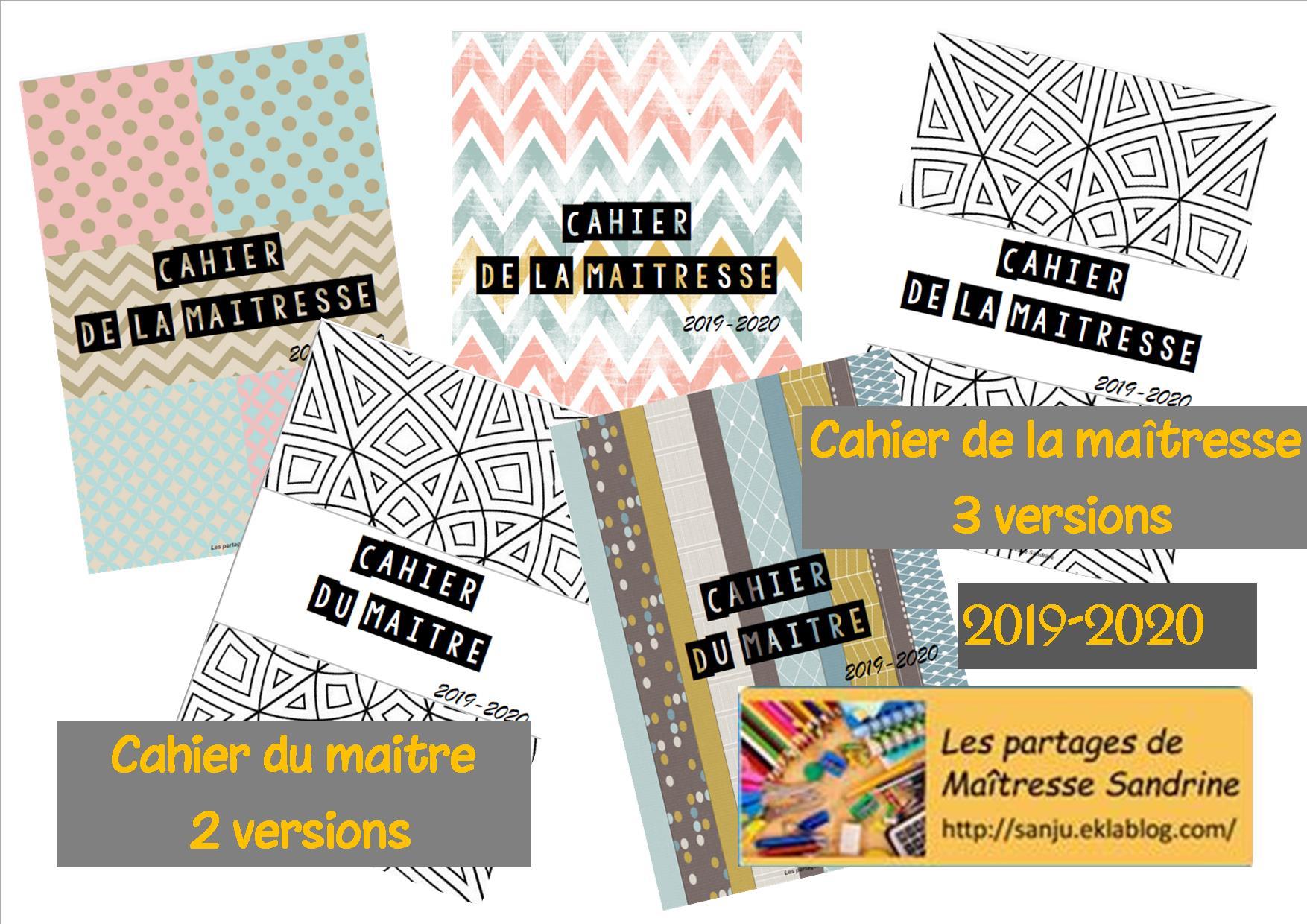 Cahier De La Maitresse / Du Maitre 2019-2020 - Les Partages intérieur Cahier De Vacances Maternelle Gratuit A Imprimer
