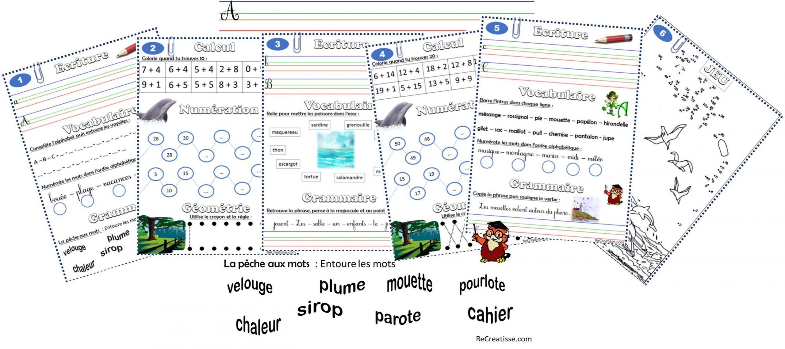 Cahier De Vacances • Recreatisse destiné Cahier De Vacances Maternelle À Imprimer