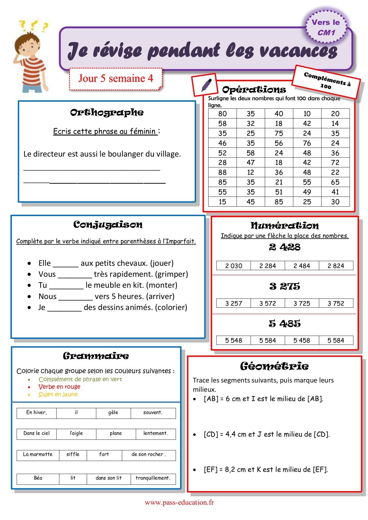 Cahier De Vacances Gratuit À Imprimer - Ce2 Vers Le Cm1 concernant Cahier De Vacances À Imprimer