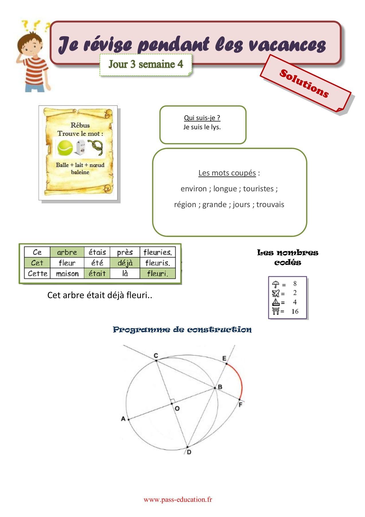 Cahier De Vacances Gratuit À Imprimer - Cm2 Vers La 6Ème à Mots Coupés À Imprimer