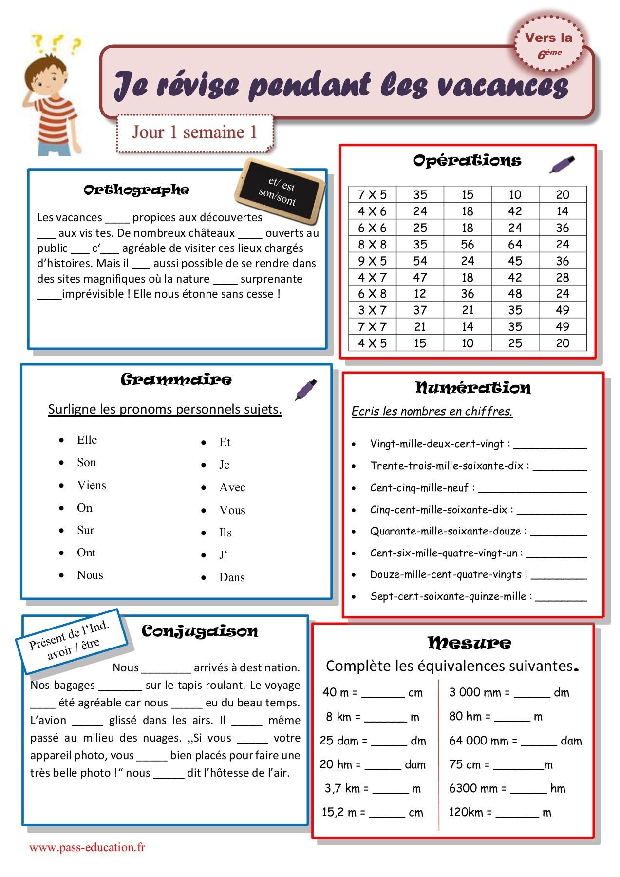 Cahier De Vacances Gratuit À Imprimer - Cm2 Vers La 6Ème tout Cahier De Vacances Gratuit En Ligne