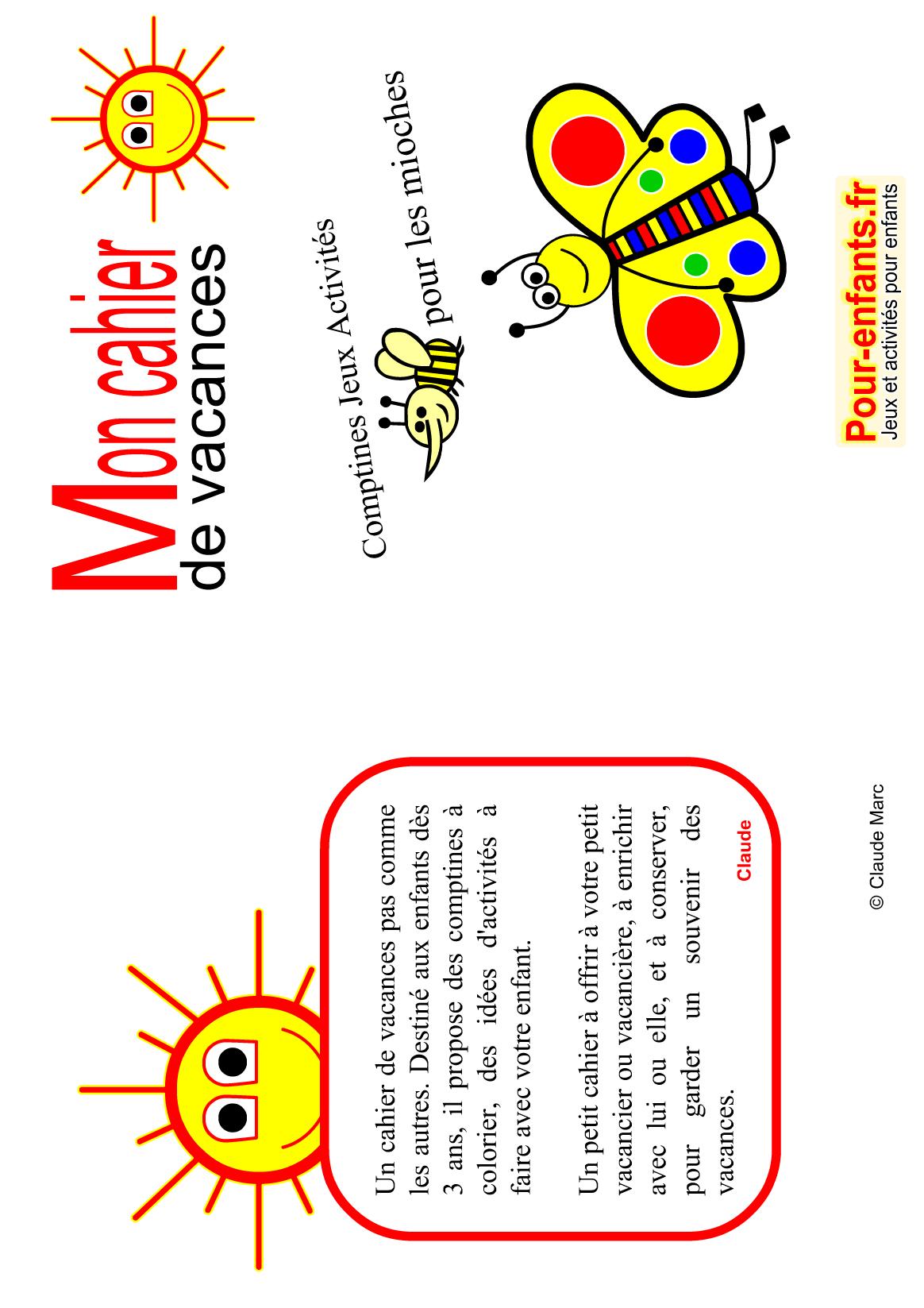 Cahier De Vacances Gratuit À Imprimer Maternelle Enfants à Cahier De Vacances À Imprimer