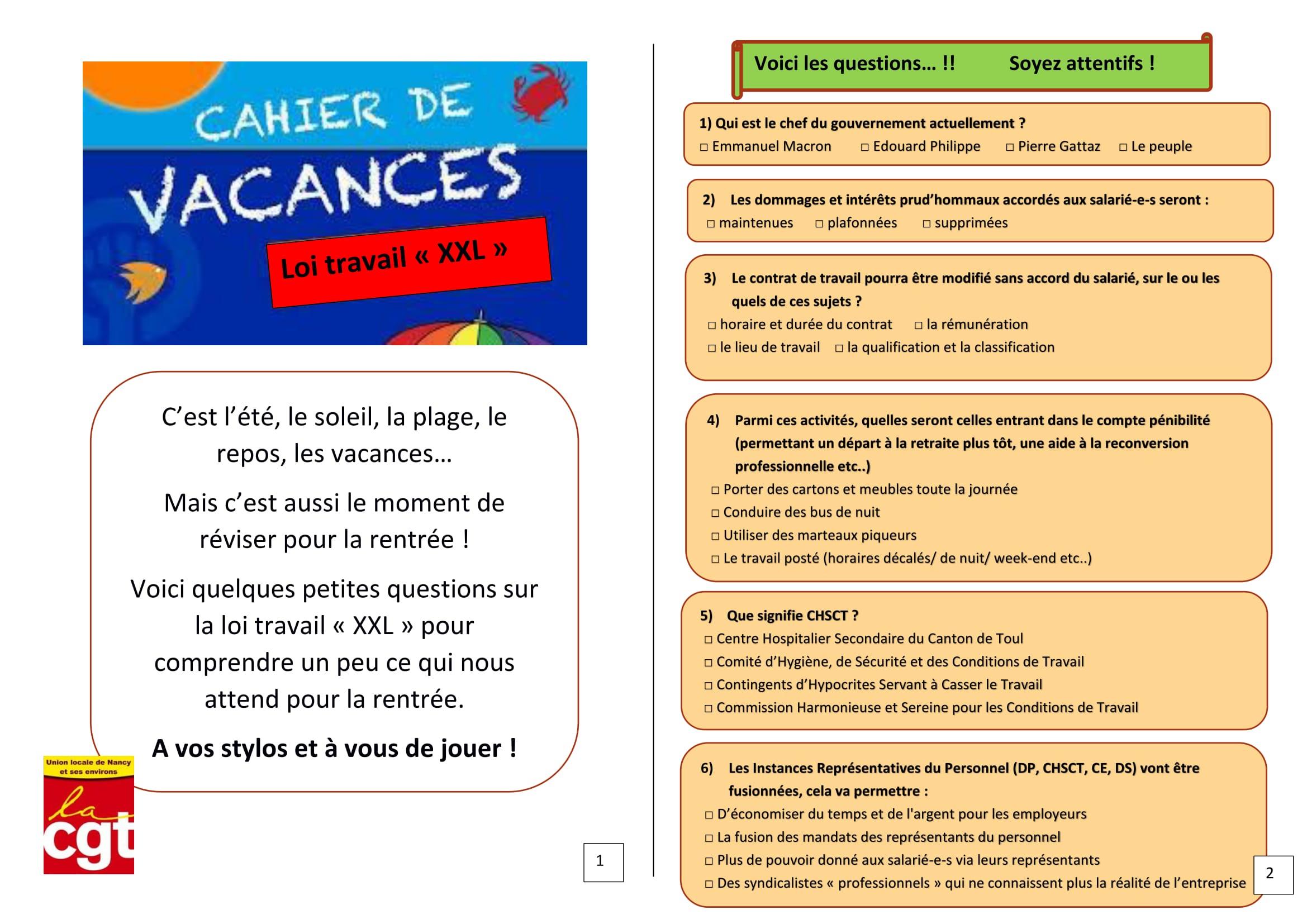 Cahier De Vacances | Union Locale Cgt Nancy dedans Carnet De Vacances À Imprimer