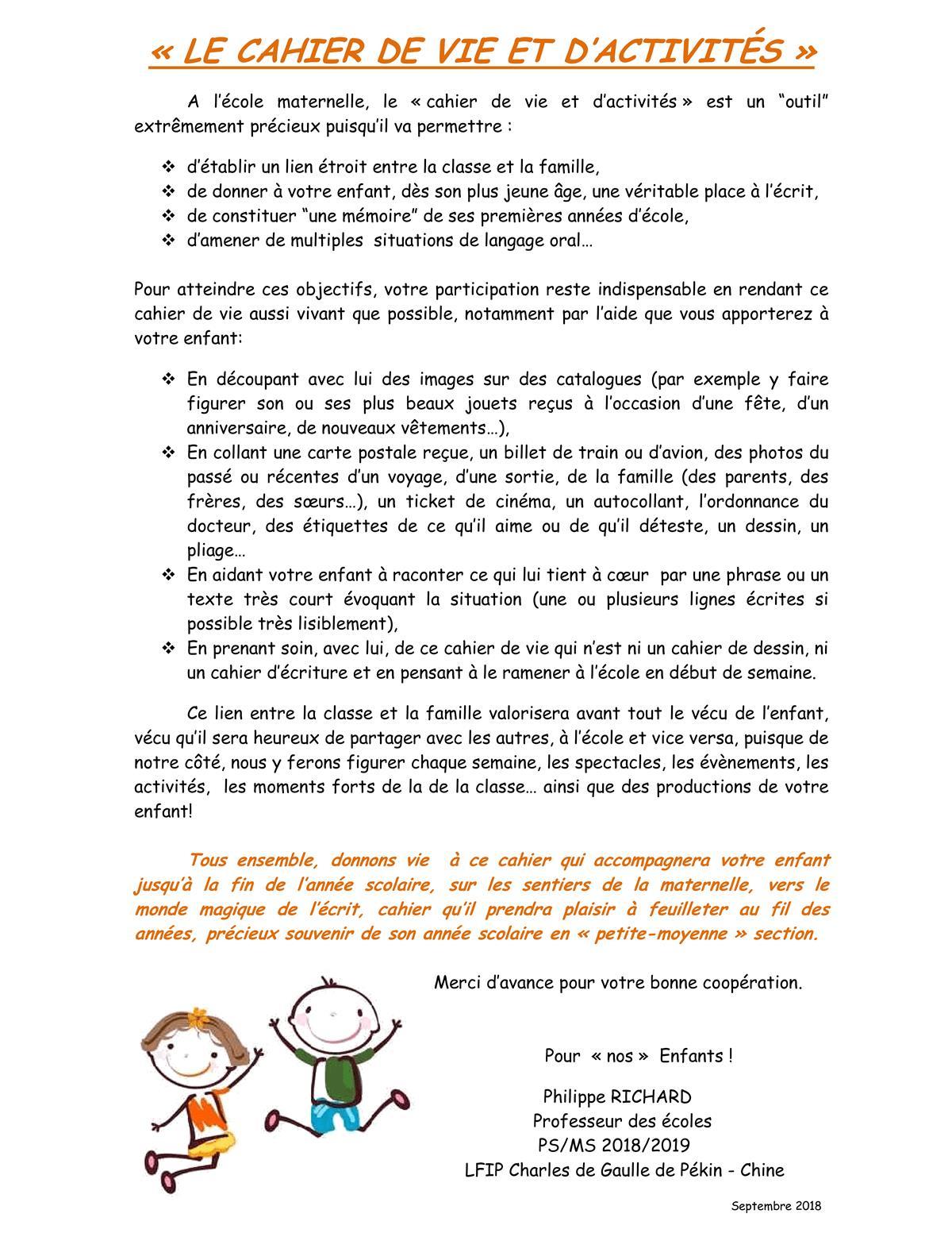Cahier De Vie dedans Cahier D Activité Maternelle