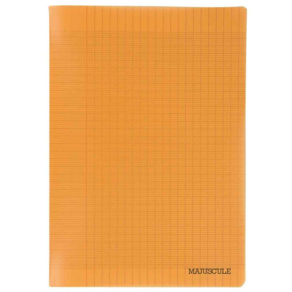 Cahier Piqure 96P Couverture Polypropylene Orange A4 Grand Carreaux 90G. pour Cahier Majuscule