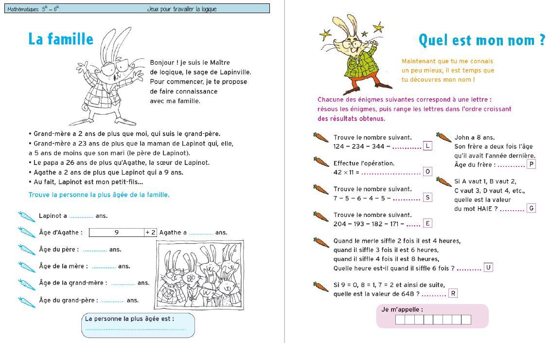 Cahiers De Vacances-Jeux De Raisonnement / Logique Pour 5-6H à Cahier De Vacances À Imprimer