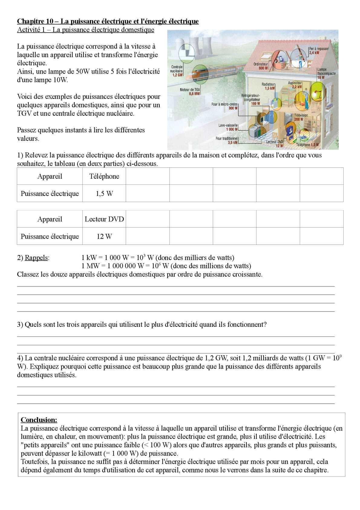 Calaméo - 3E - Chapitre 10 - Fiche 1 Puissance Électrique concernant Puissance 4 A Deux