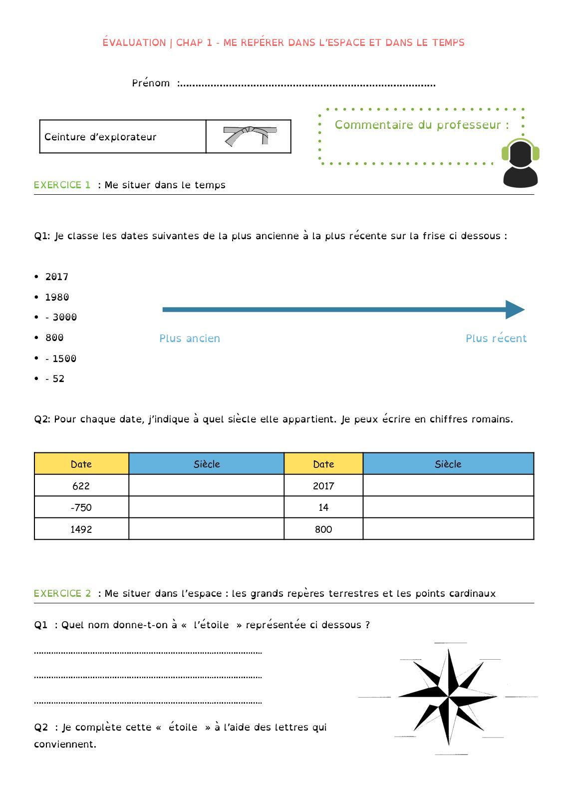 Calaméo - 6Ème - Chapitre 1 - Evaluation tout Exercice Chiffre Romain