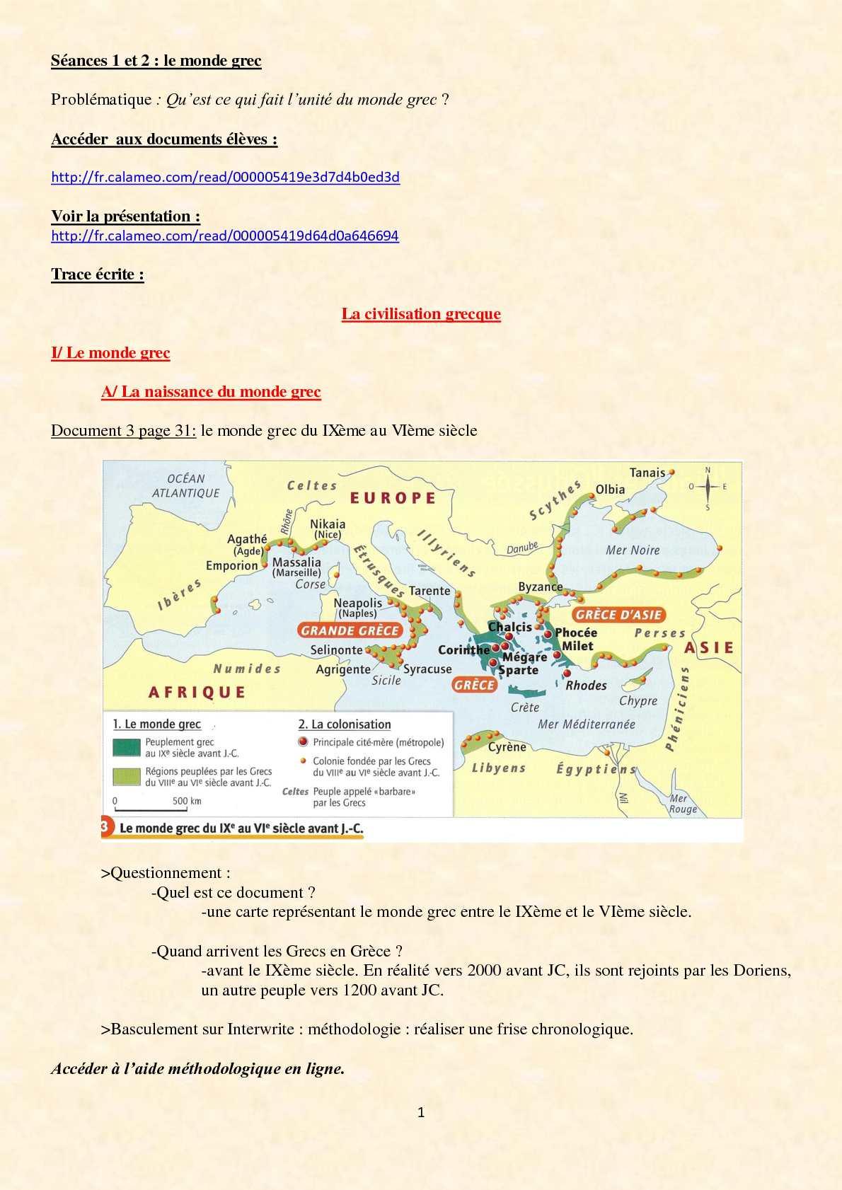 Calaméo - 6Ème - La Civilisation Grecque -Cours - I.a. destiné Carte Des Régions À Compléter