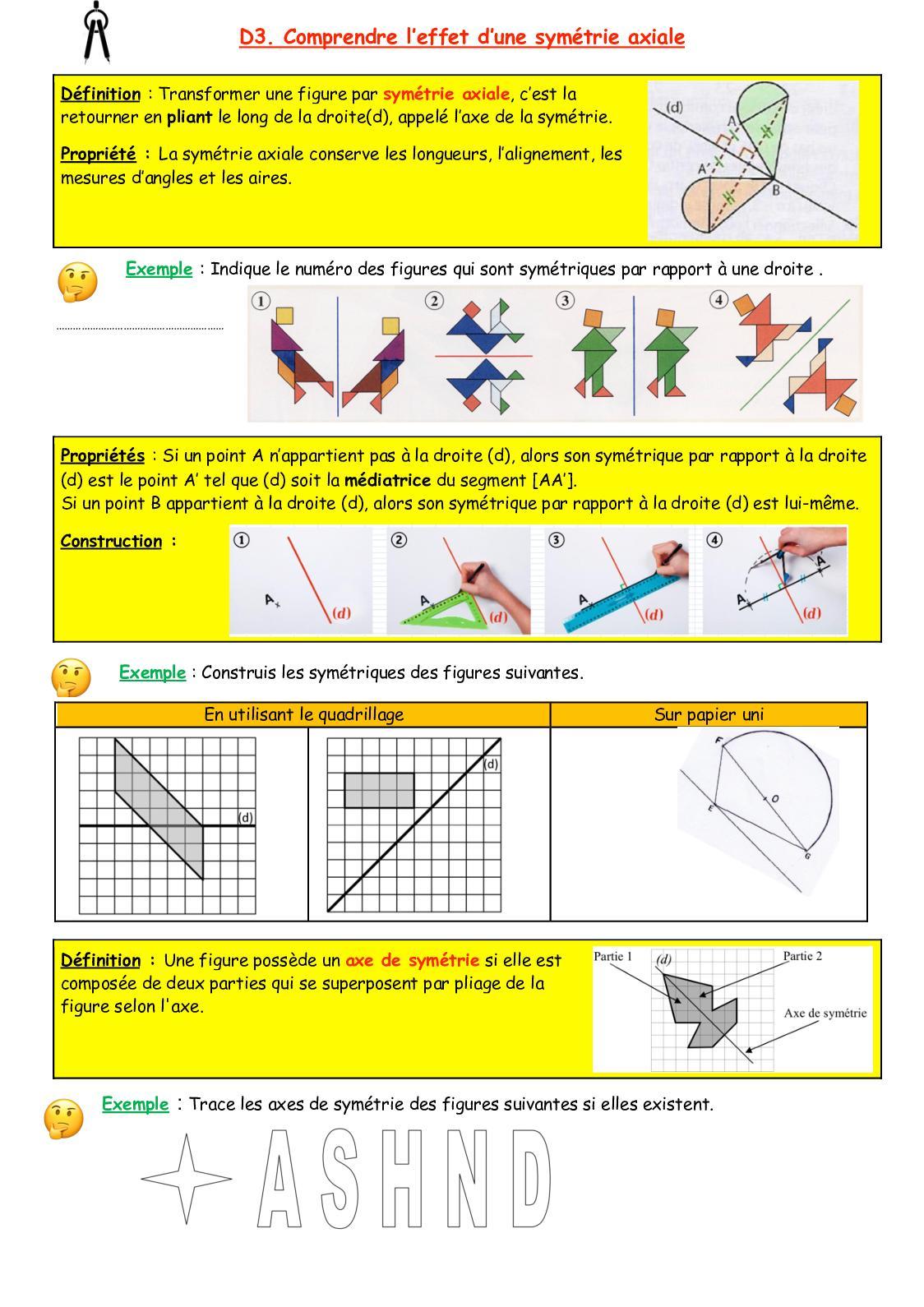 Calaméo - Cours D3 concernant Symétrie Quadrillage