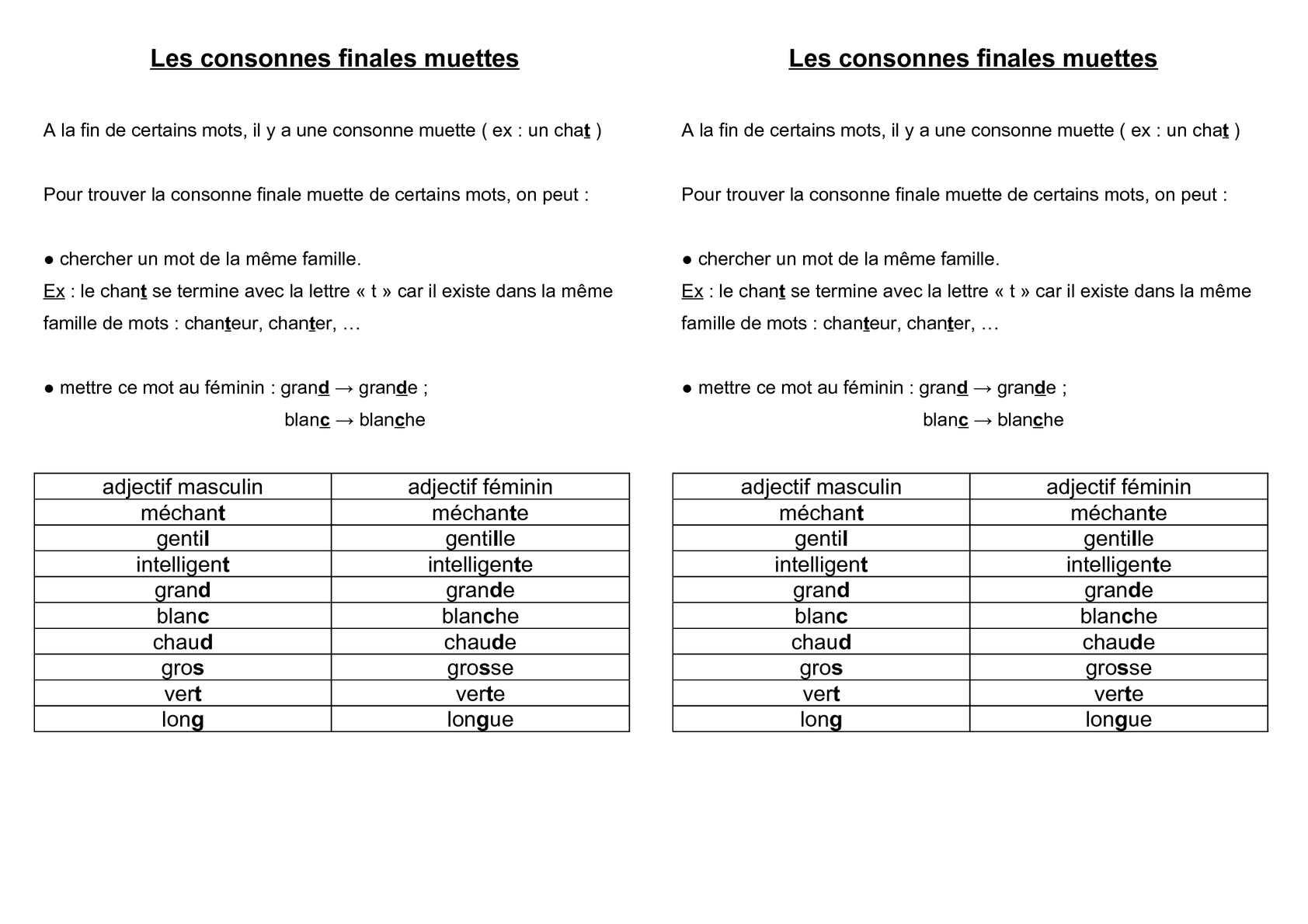 Calaméo - Cycle 3 : Orthographe : Lettres Finales Muettes intérieur Chercher Les Mots