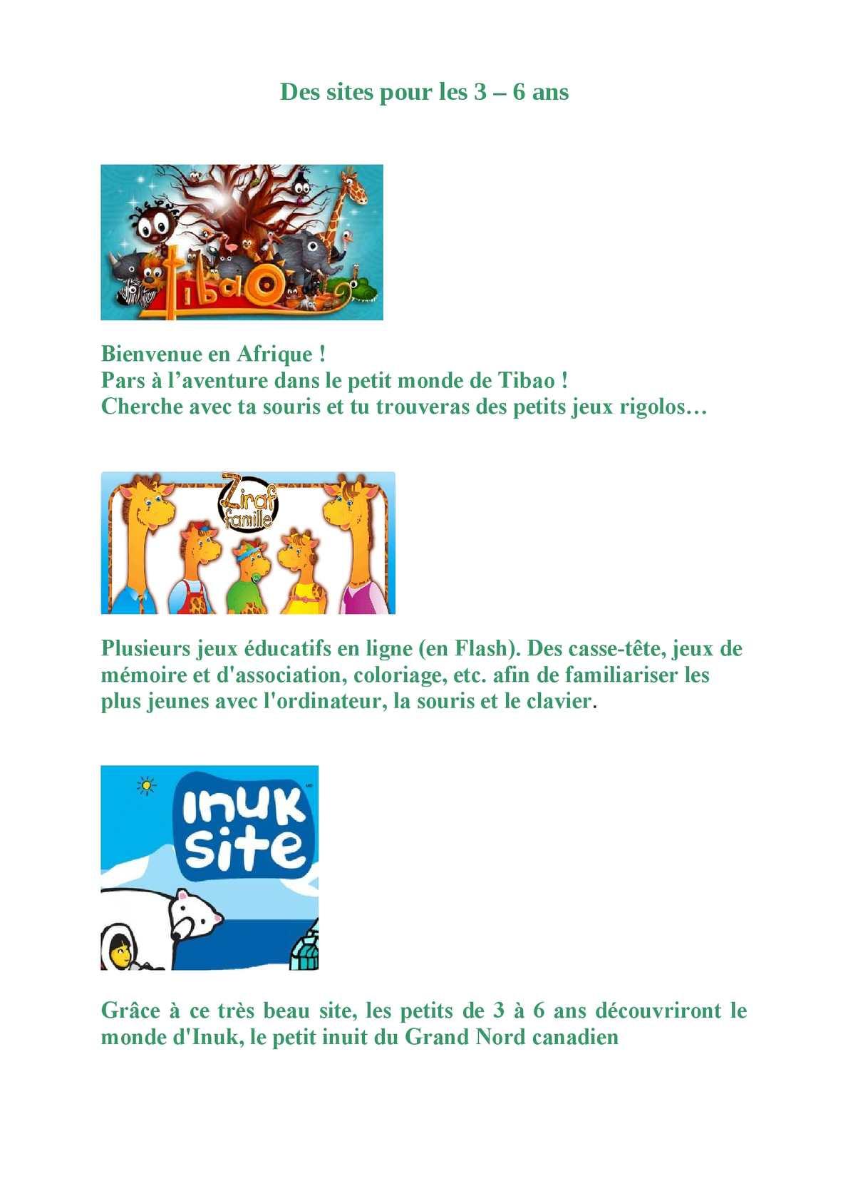 Calaméo - Des Sites Pour Les 3 6 Ans avec Jeux Educatif 3 Ans En Ligne