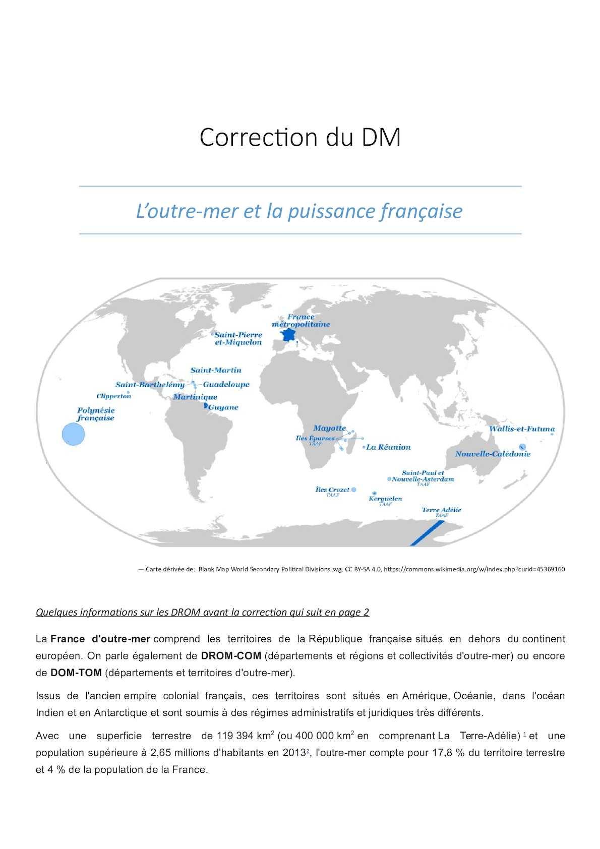 Calaméo - Devoir Drom Correction destiné Département D Outre Mer Carte