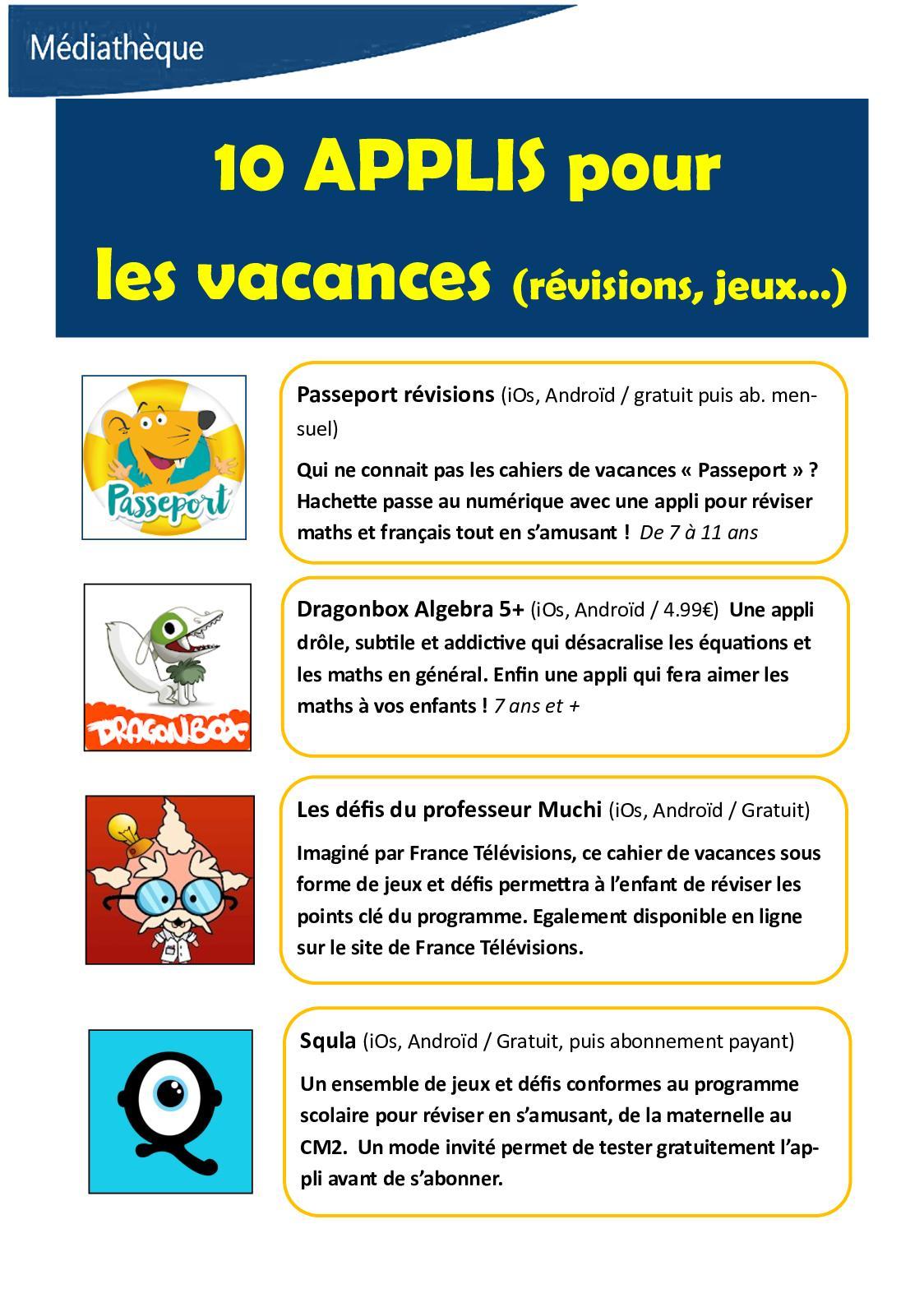 Calaméo - Ete 2018 : 10 Applis Pour Les Vacances intérieur Jeux 5 Ans Gratuit Français