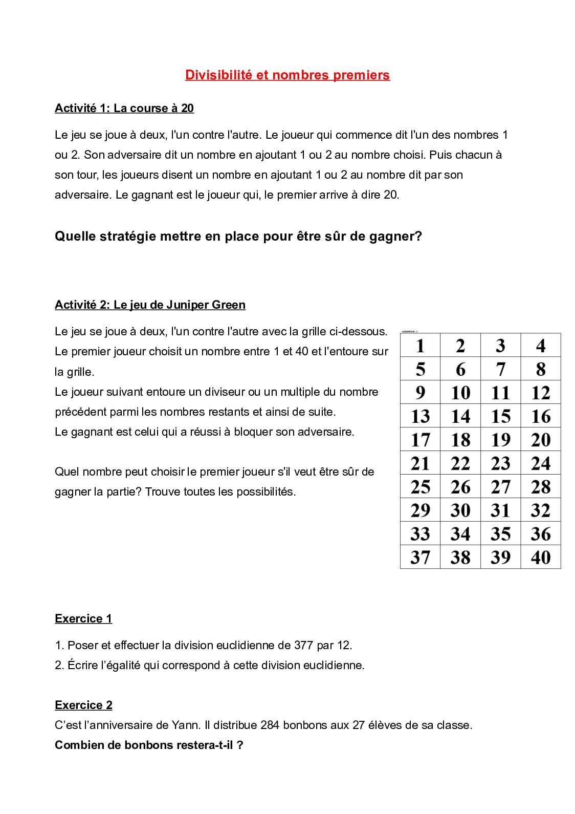 Calaméo - Exercices 1 avec Jeux Avec Des Nombres