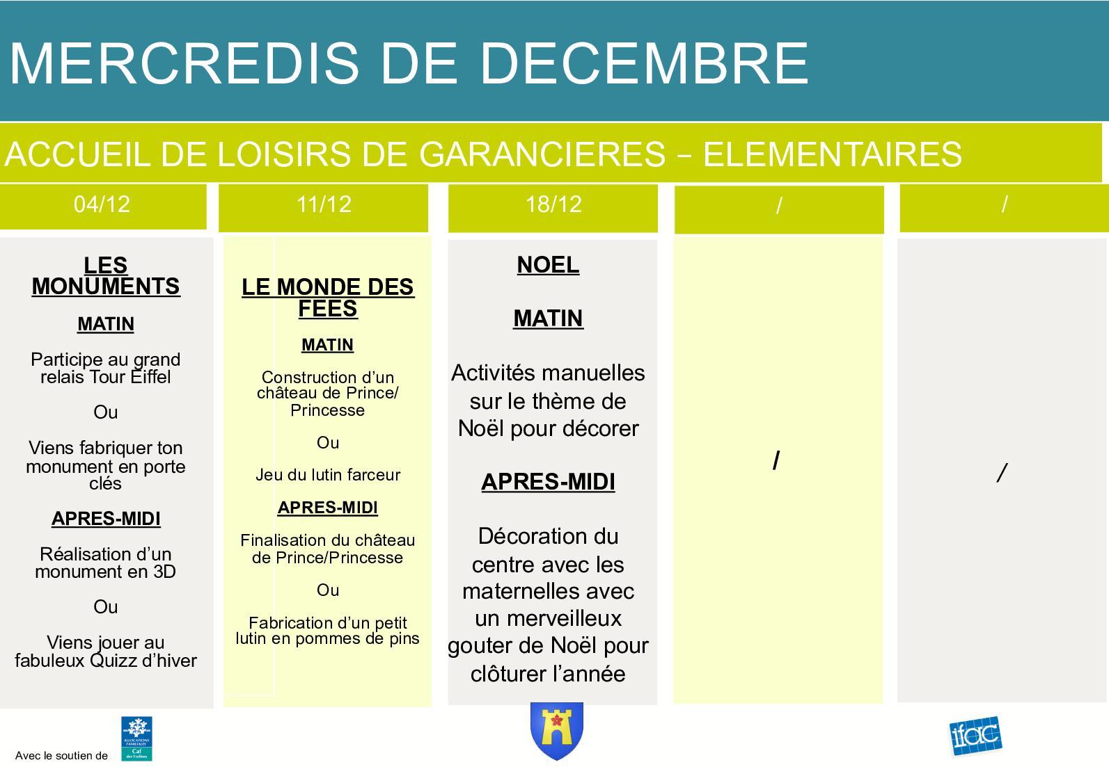 Calaméo - Ifac Planning Décembre avec Quizz Pour Maternelle