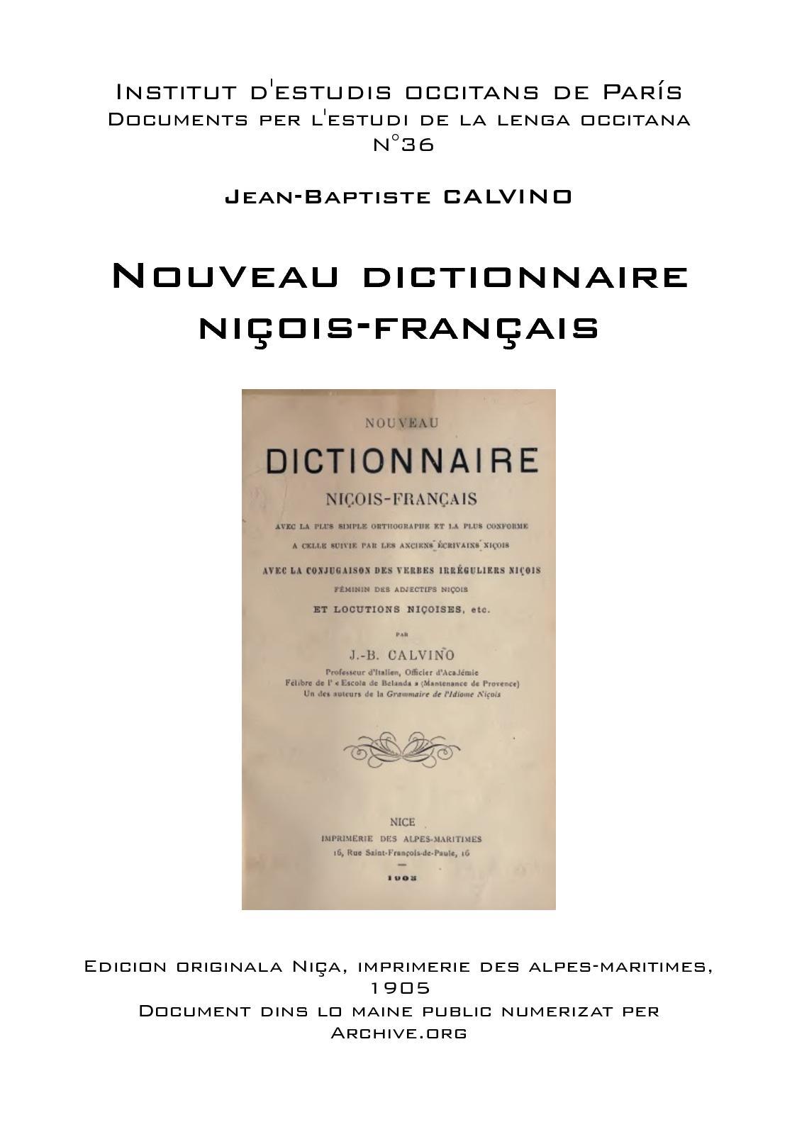 Calaméo - Jean Baptiste Calvino Nouveau Dictionnaire Niçois concernant Dictionnaire Des Mots Croisés Gator