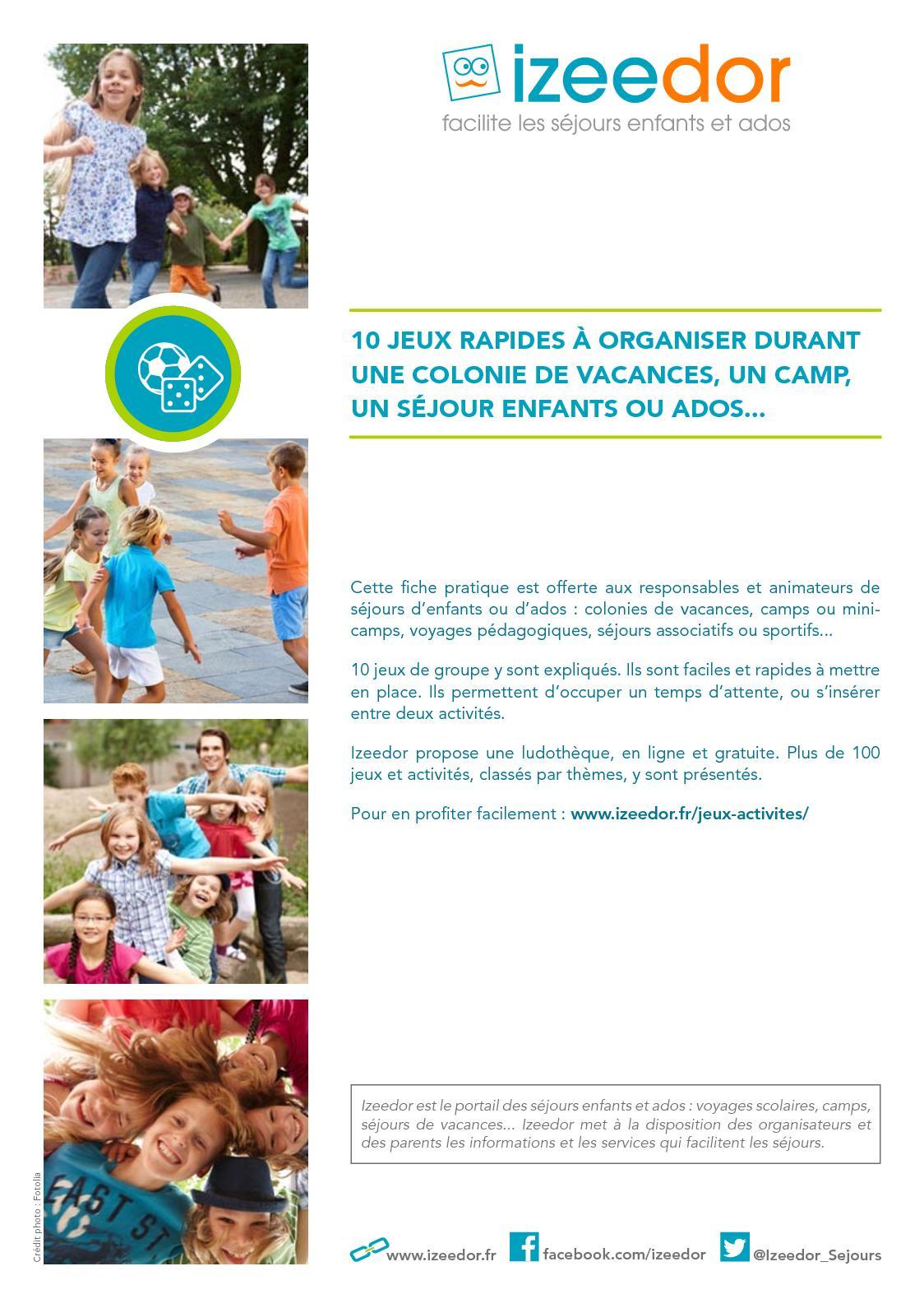 Calaméo - Jeux Rapides Pour Colo, Camp, Séjours Enfants Ou Ados concernant Jeux Pédagogiques En Ligne