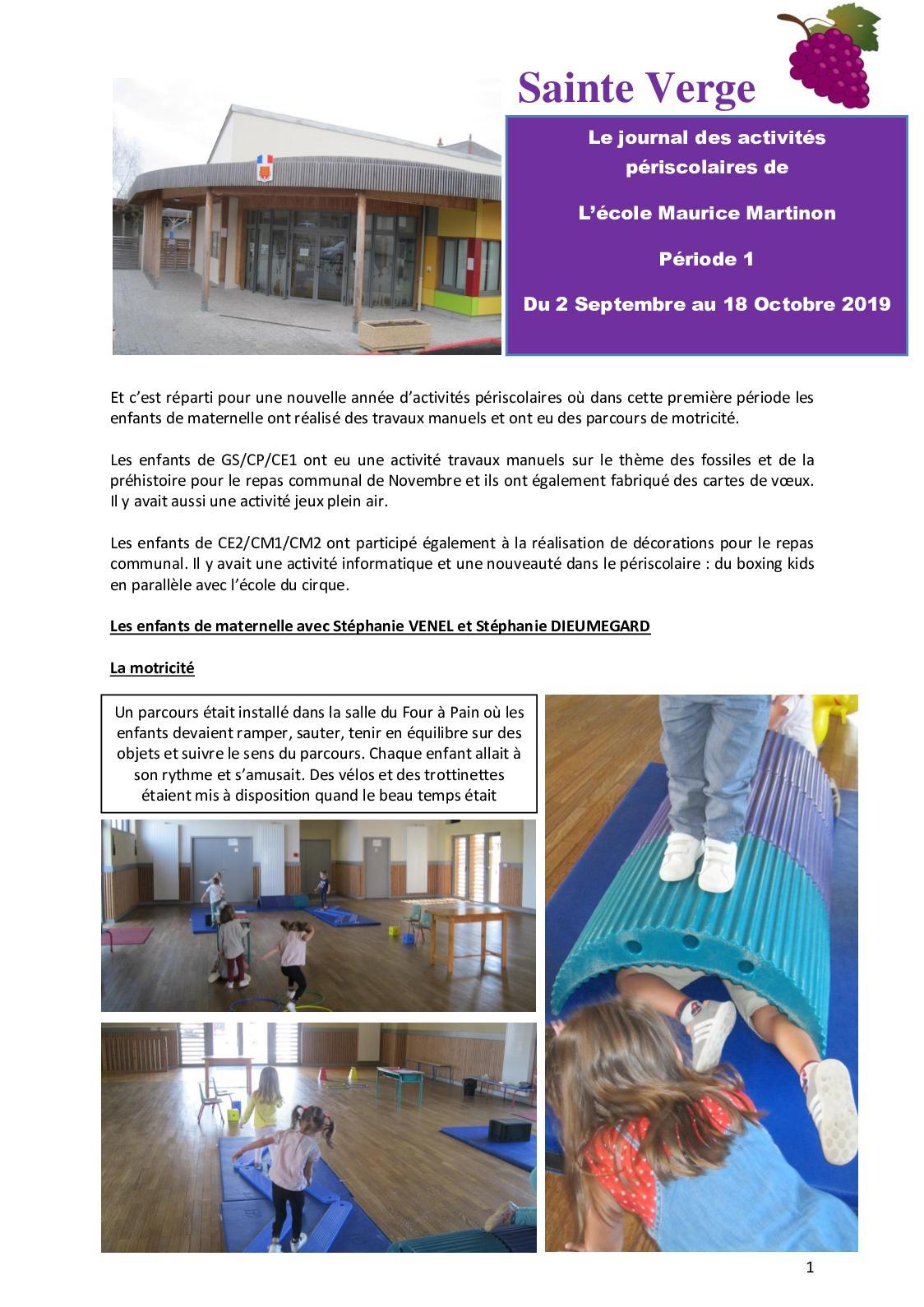 Calaméo - Journal Périscolaire Période 1 dedans Jeux Enfant Cp