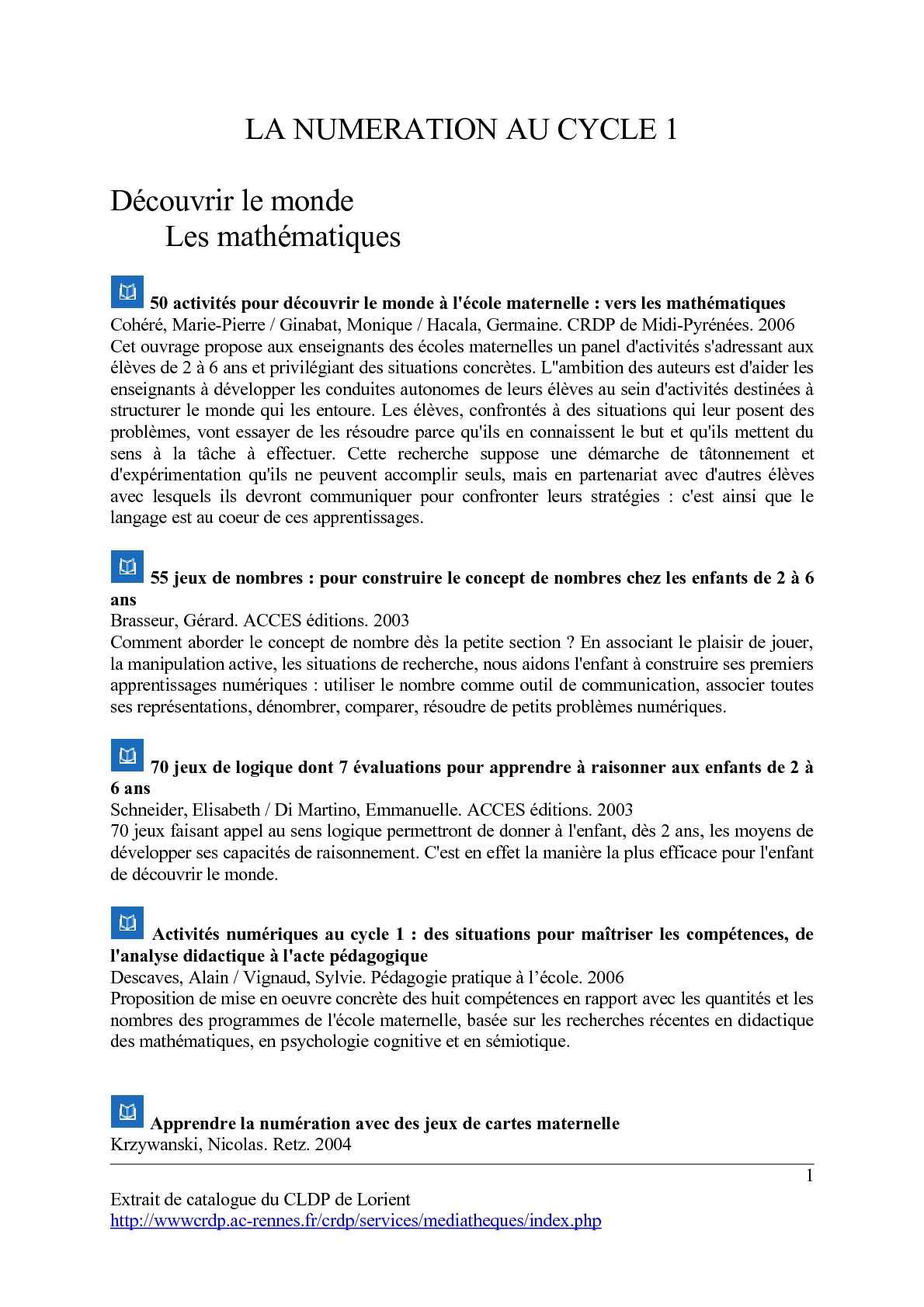 Calaméo - La Numération Au Cycle 1 tout Jeux Didactiques Maternelle