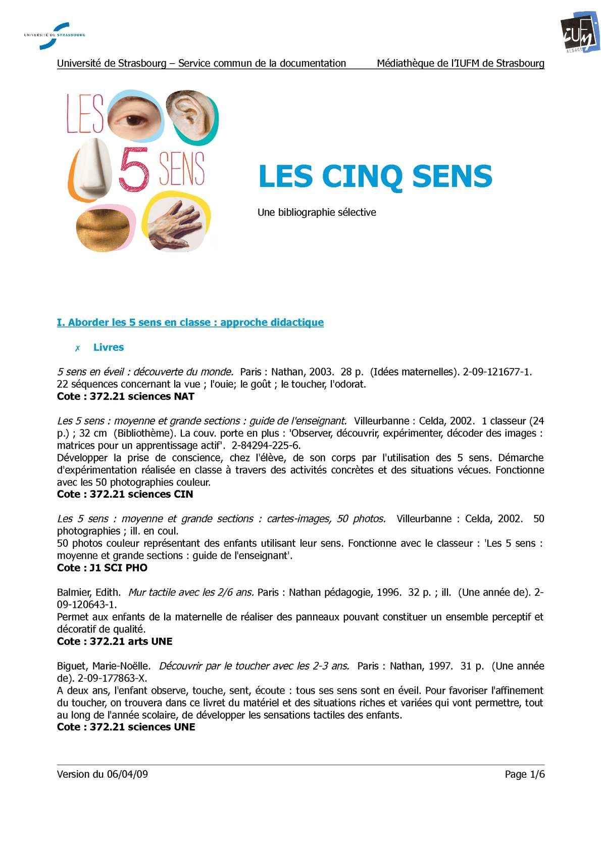 Calaméo - Les Cinq Sens. Une Bibliographie Sélective. concernant Les 5 Sens Activités Maternelle