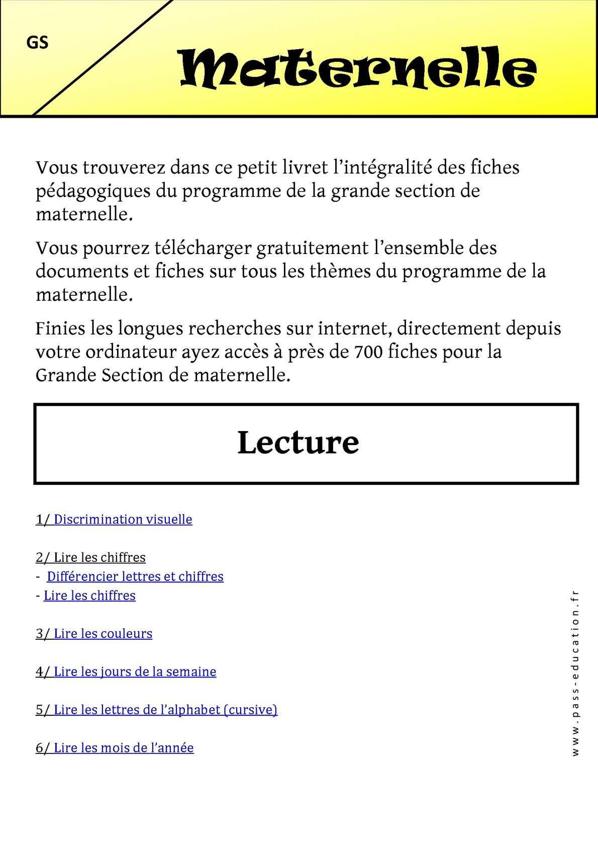 Calaméo - Maternelle – Cycle 1 - Livrets Pédagogiques intérieur Programme Grande Section Maternelle Gratuit