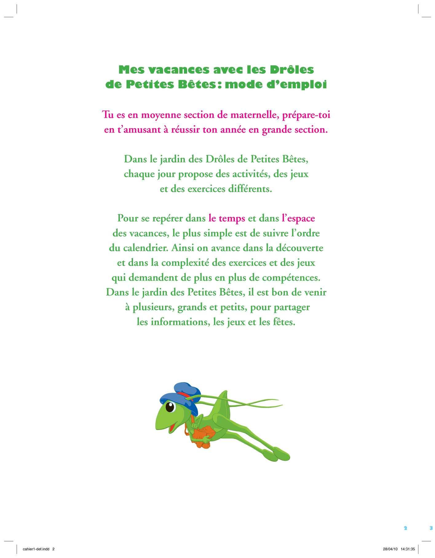 Calaméo - Mes Vacances Avec Les Drôles De Petites Bêtes pour Jeux Maternelle Grande Section