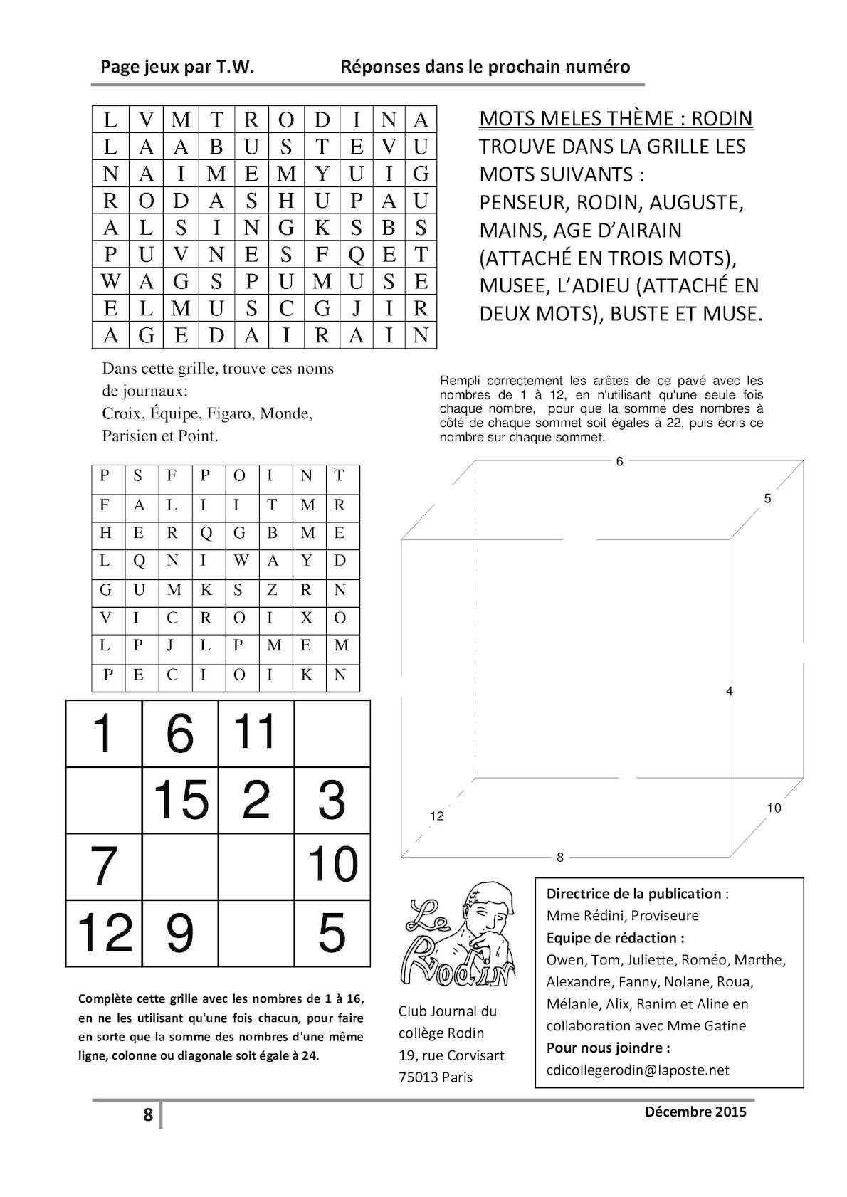 Calaméo - Page 8 Définitive Jeu Journal encequiconcerne Jeux Avec Des Nombres