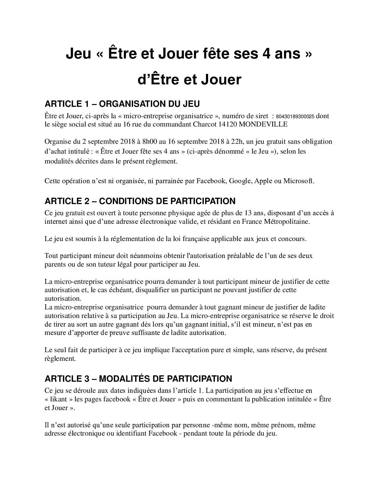 Calaméo - Règlement Jeu Concours Être Et Jouer Fête Ses 4 Ans avec Jeux 4 Ans Gratuit