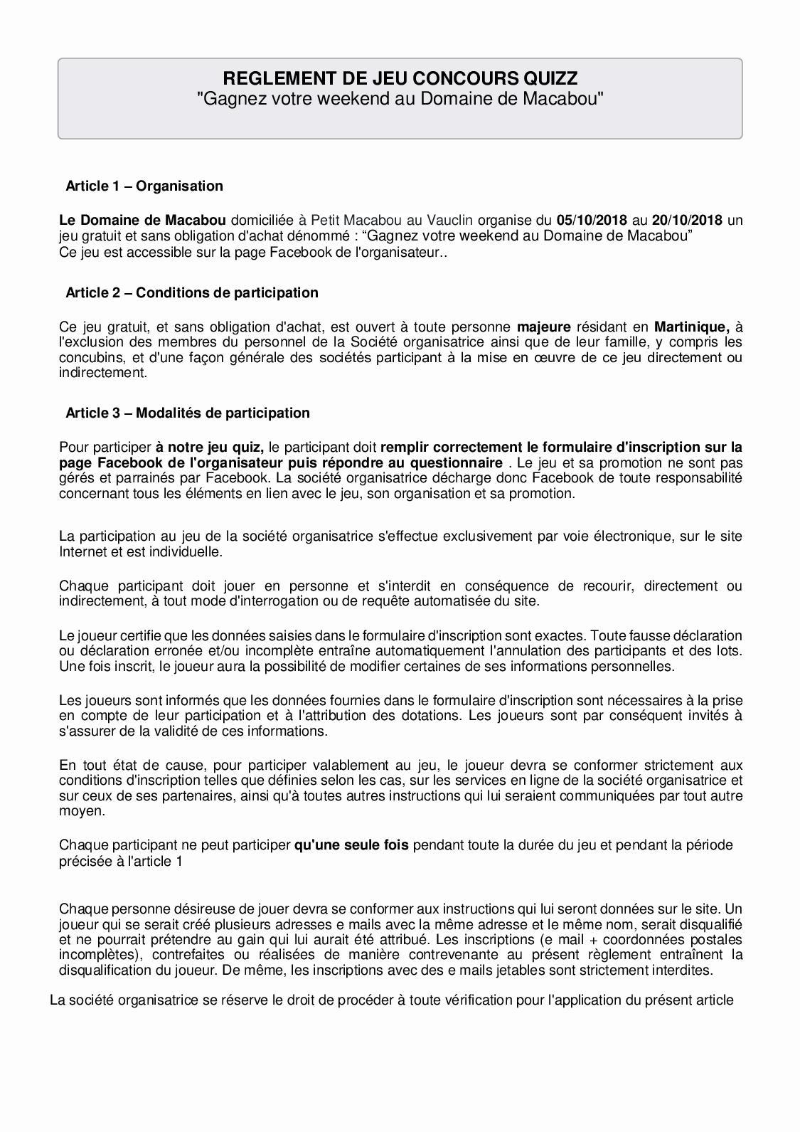 Calaméo - Règlement Jeu Quiz Domaine De Macabou dedans Jeux En Ligne Tout Petit