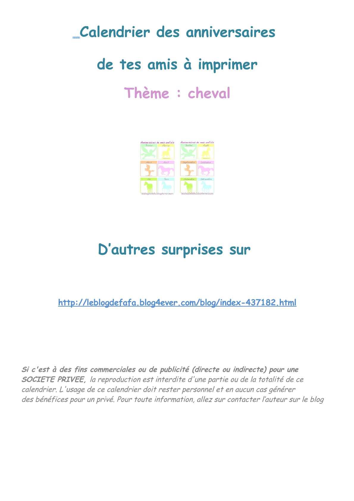 Calaméo - Thème Cheval : Calendrier Des Anniversaires De Tes avec Calendrier Des Anniversaires À Imprimer Gratuit