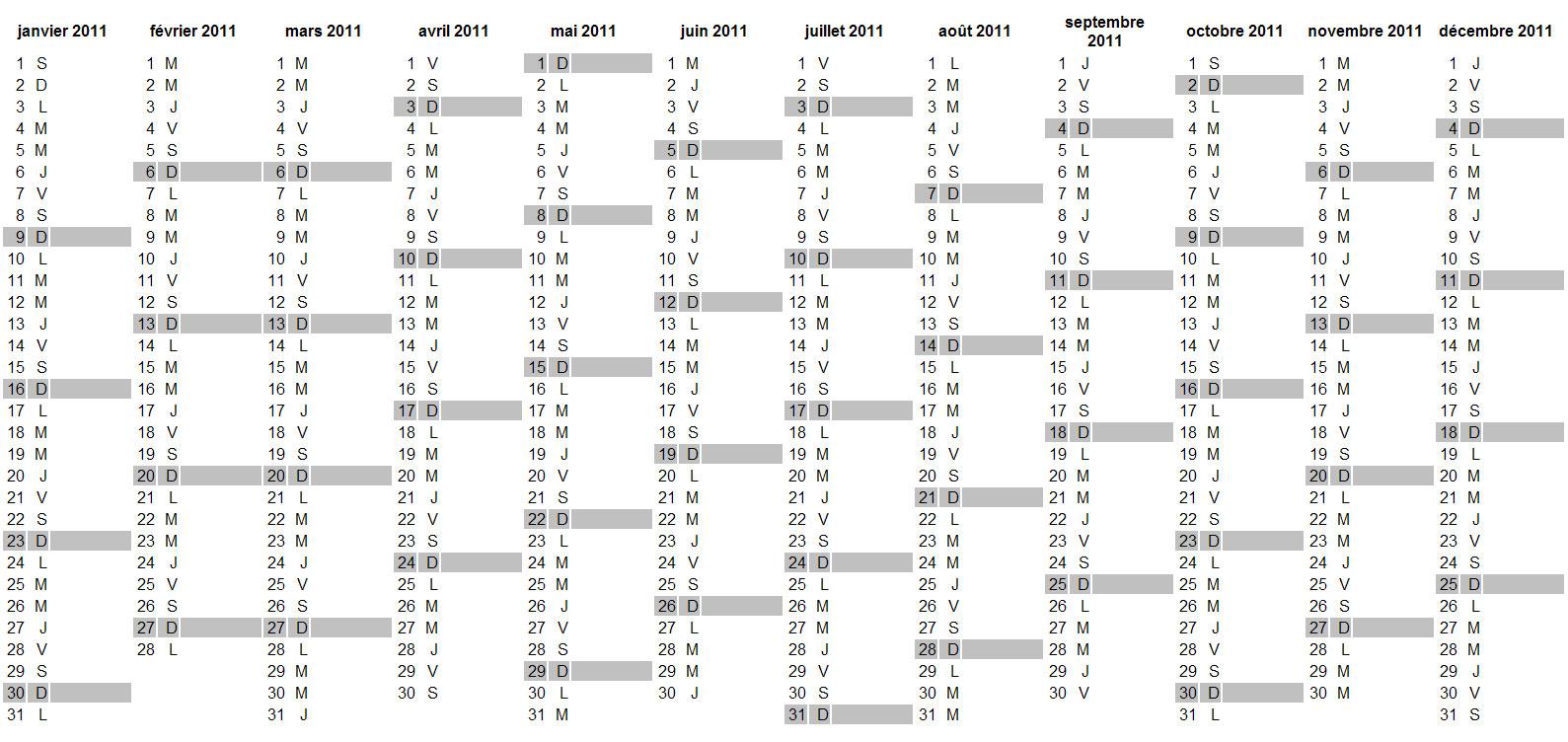 Calendrier 2011 À Imprimer Gratuit Au Format Excel, Pdf, Jpg intérieur Calendrier Perpetuel Gratuit Imprimer